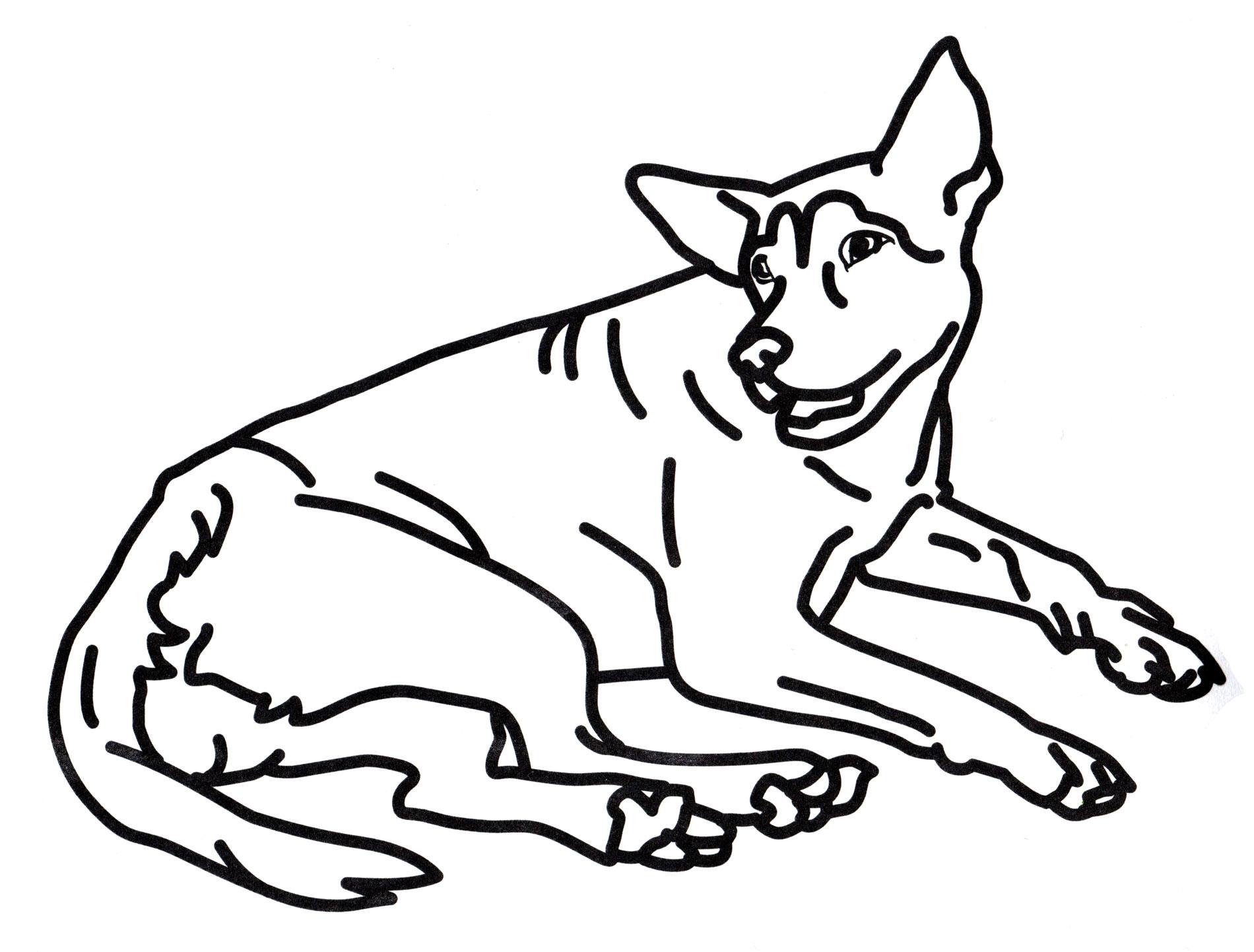 Раскраска Собака отдыхает - распечатать бесплатно