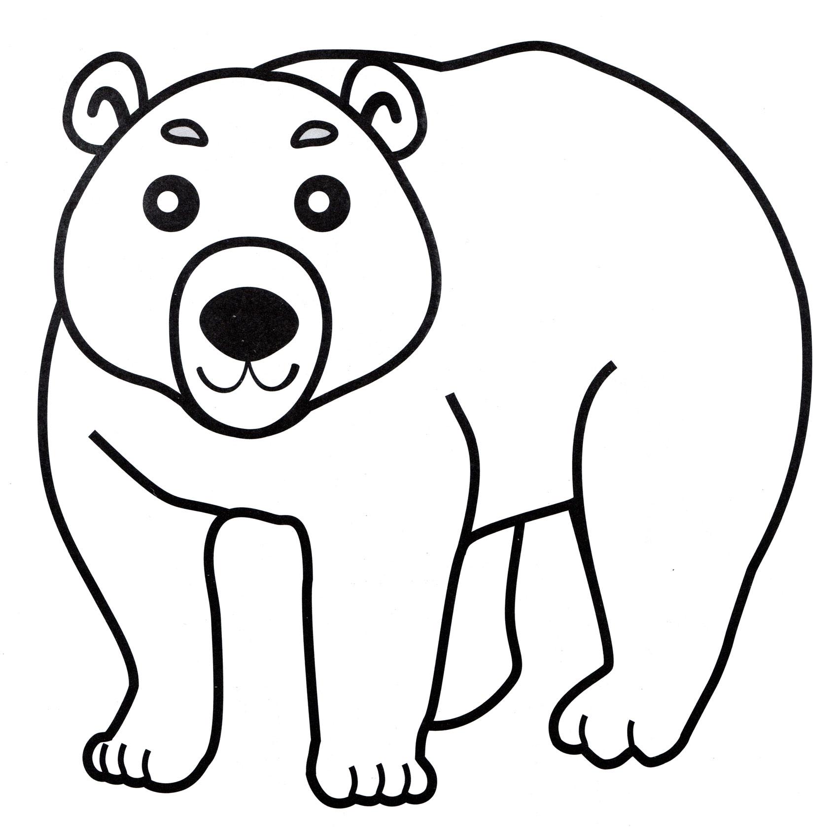 Картинка медведь для детей на белом фоне контур
