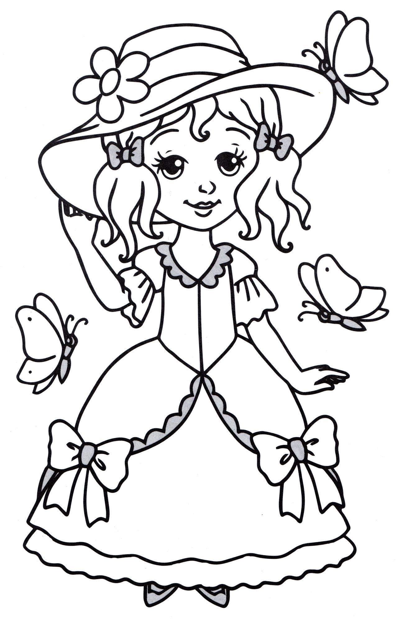 Раскраска Принцесса в шляпке - распечатать бесплатно
