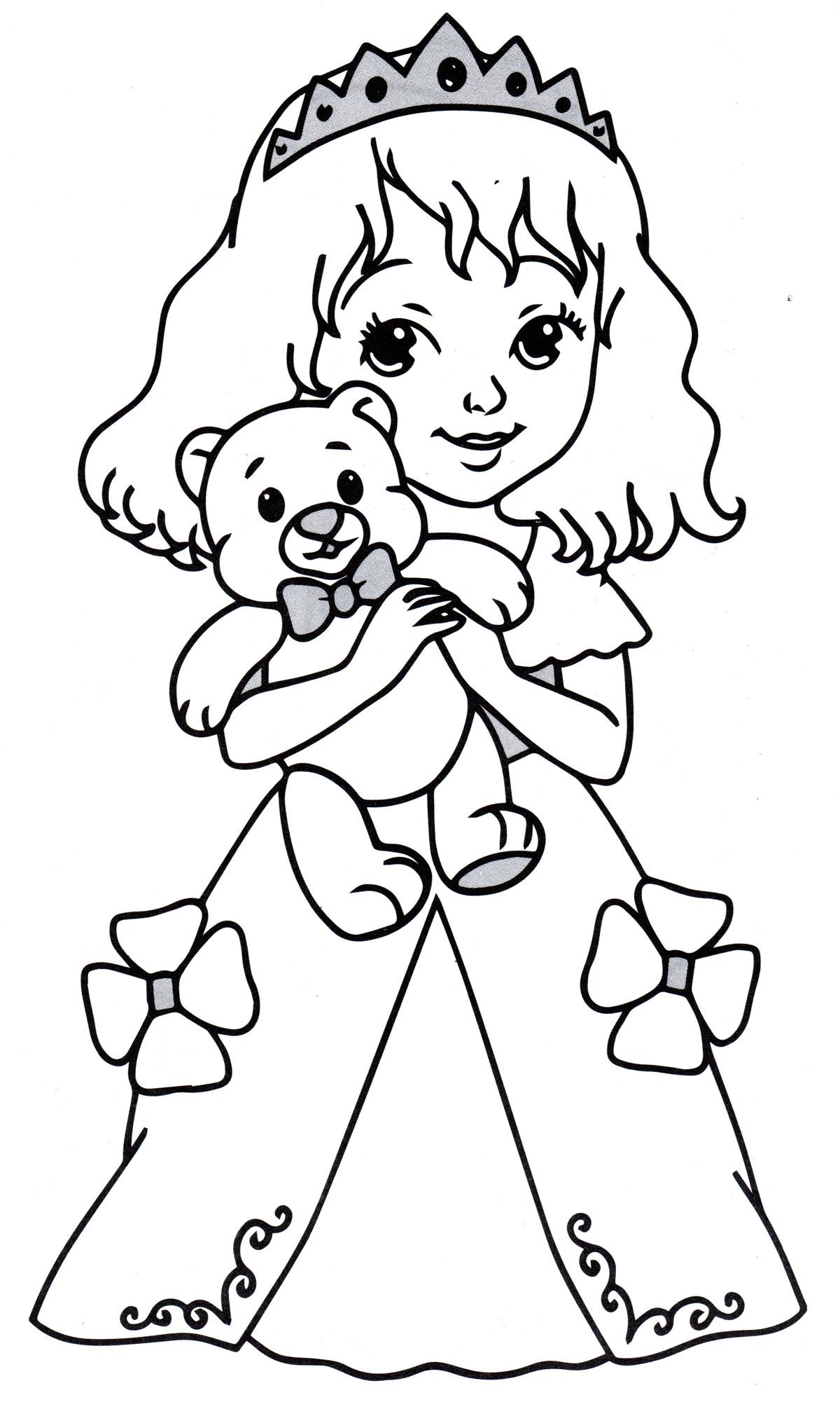 Раскраска Принцесса с плюшевым мишкой - распечатать бесплатно