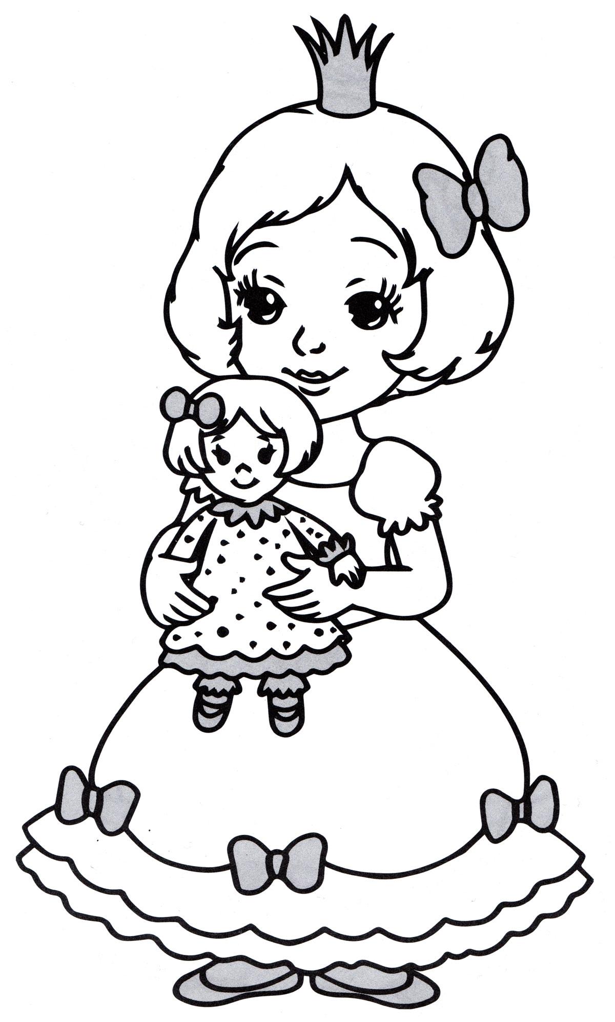Раскраска Принцесса с куклой - распечатать бесплатно