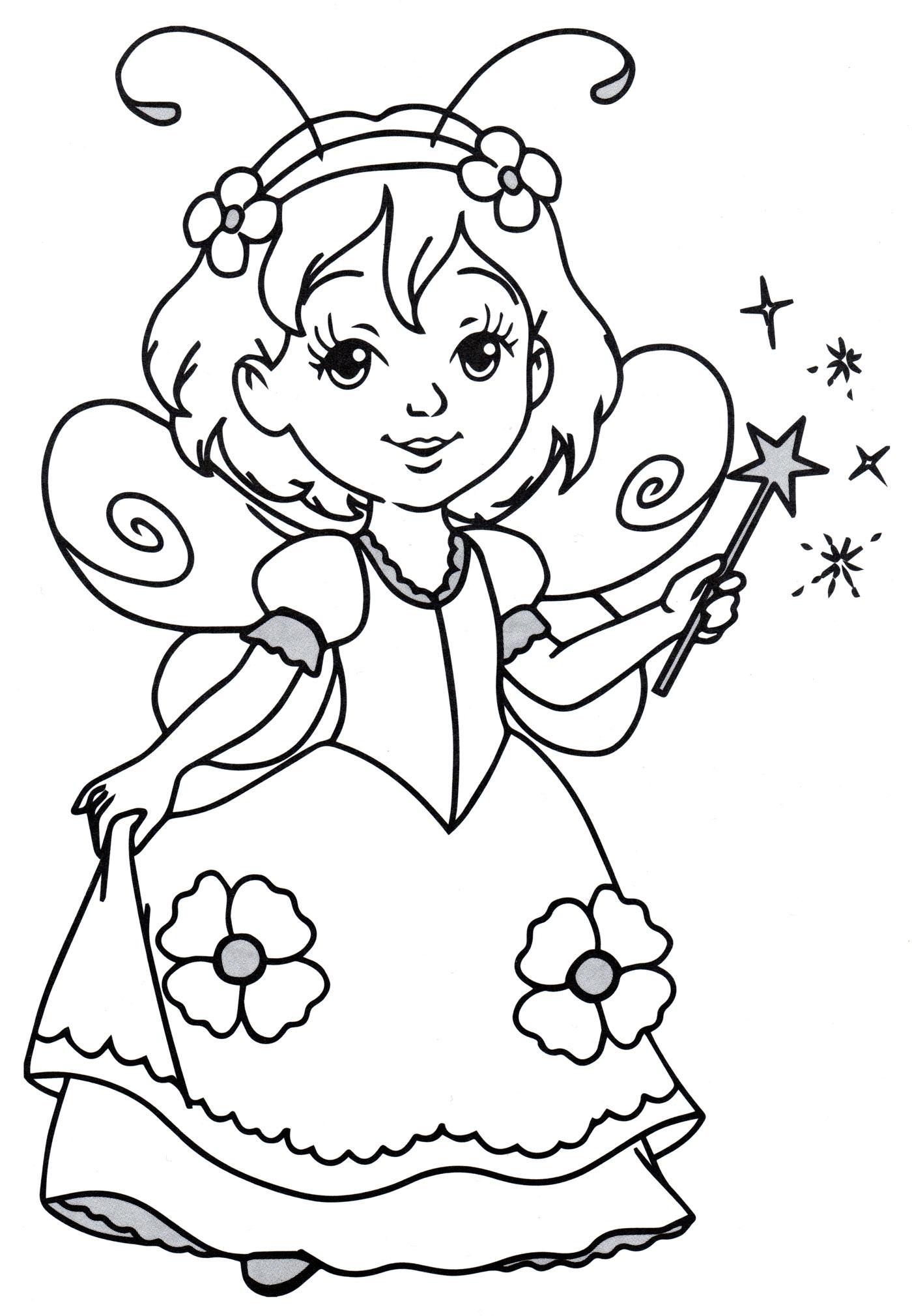 Раскраска Принцесса в костюме феи - распечатать бесплатно