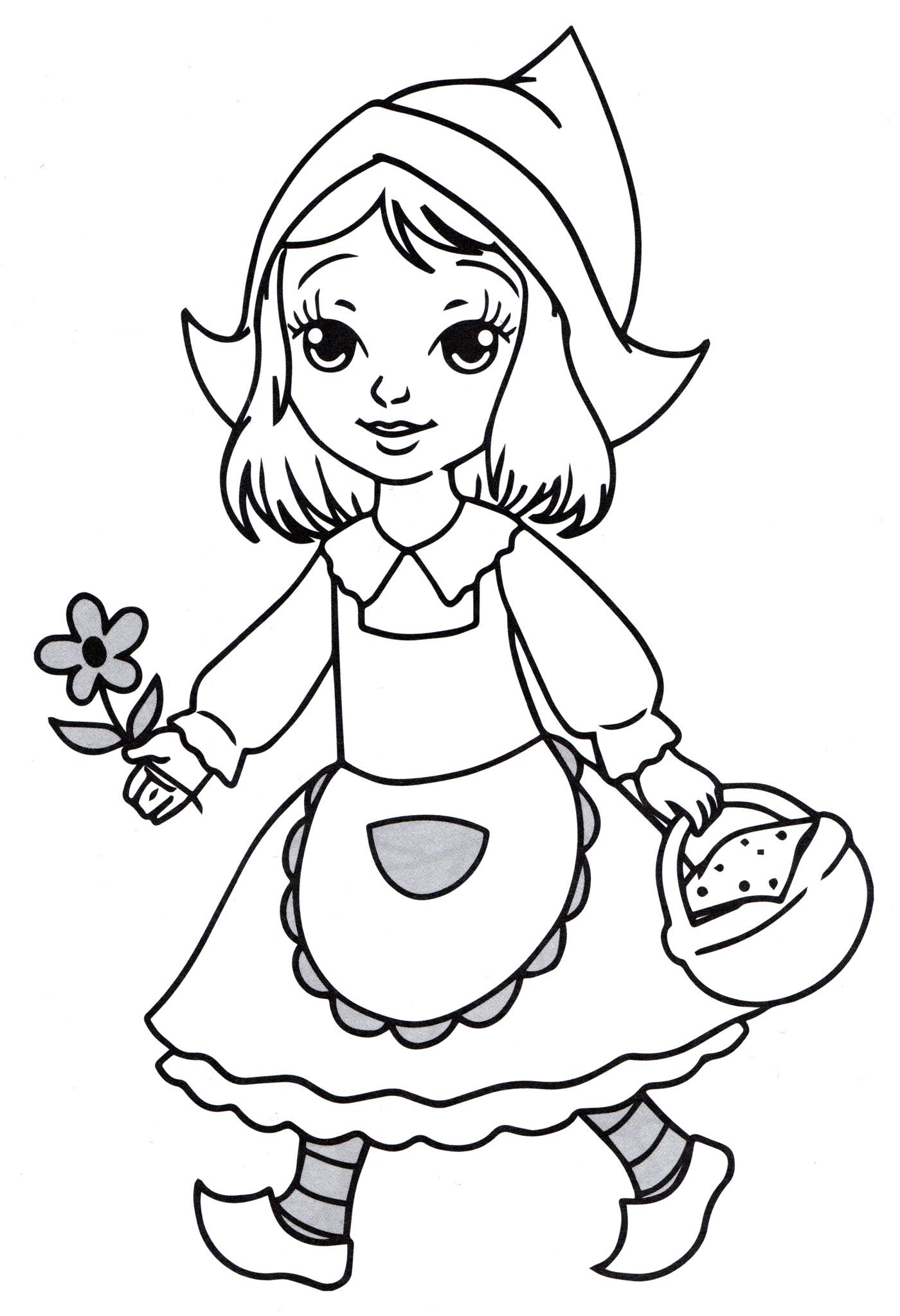 Раскраска Принцесса с цветочком - распечатать бесплатно