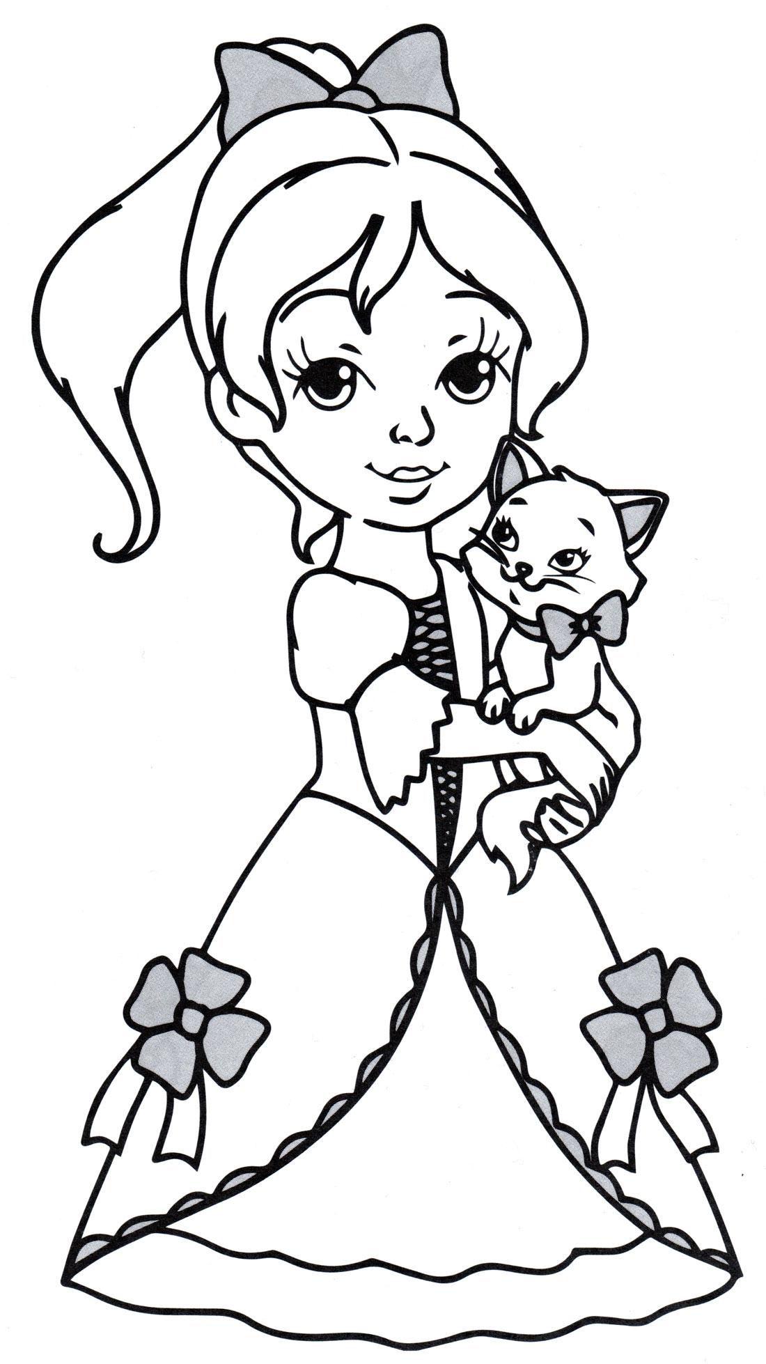 Раскраска Принцесса с котенком - распечатать бесплатно