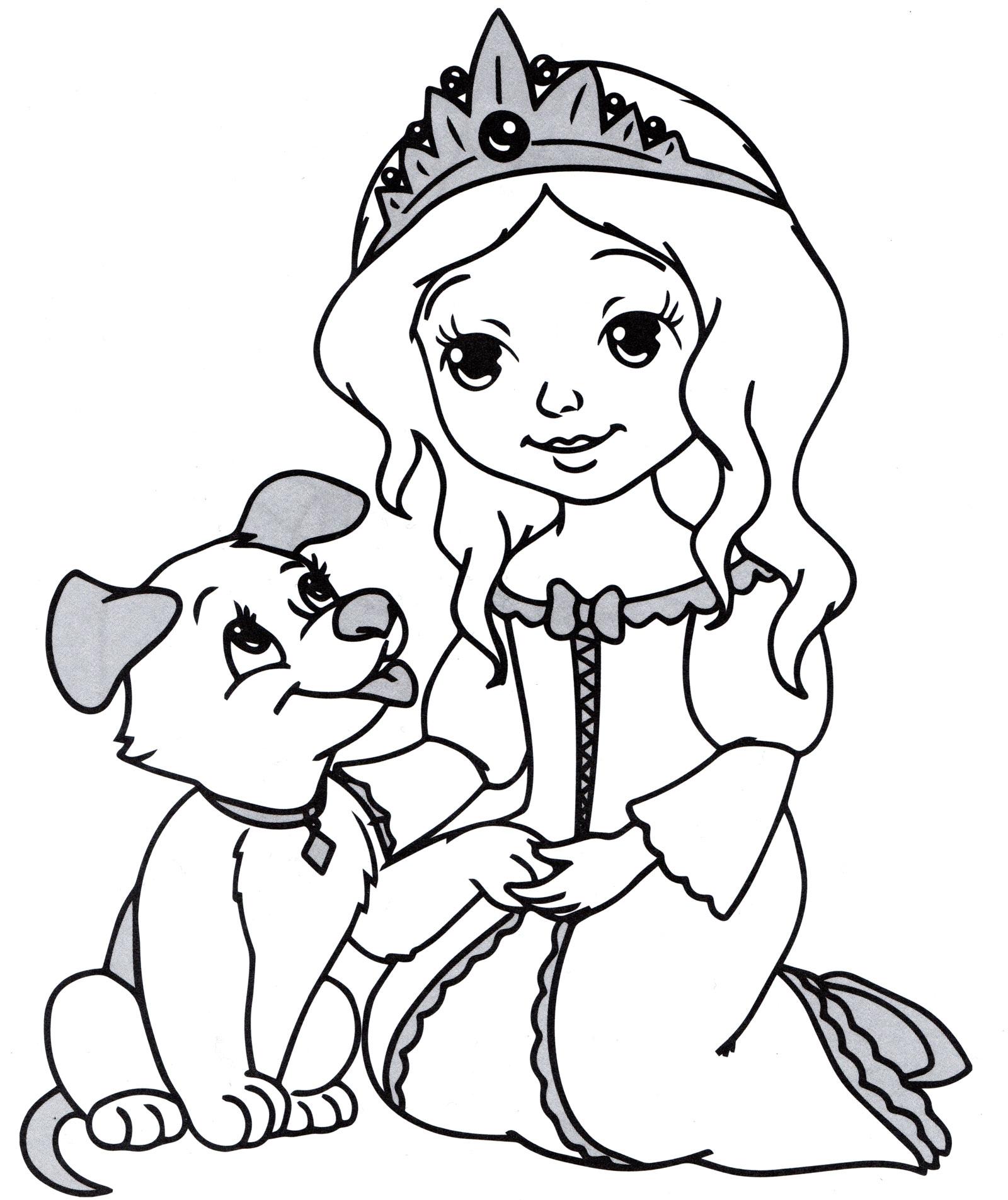 Раскраска Принцесса и ее щенок - распечатать бесплатно