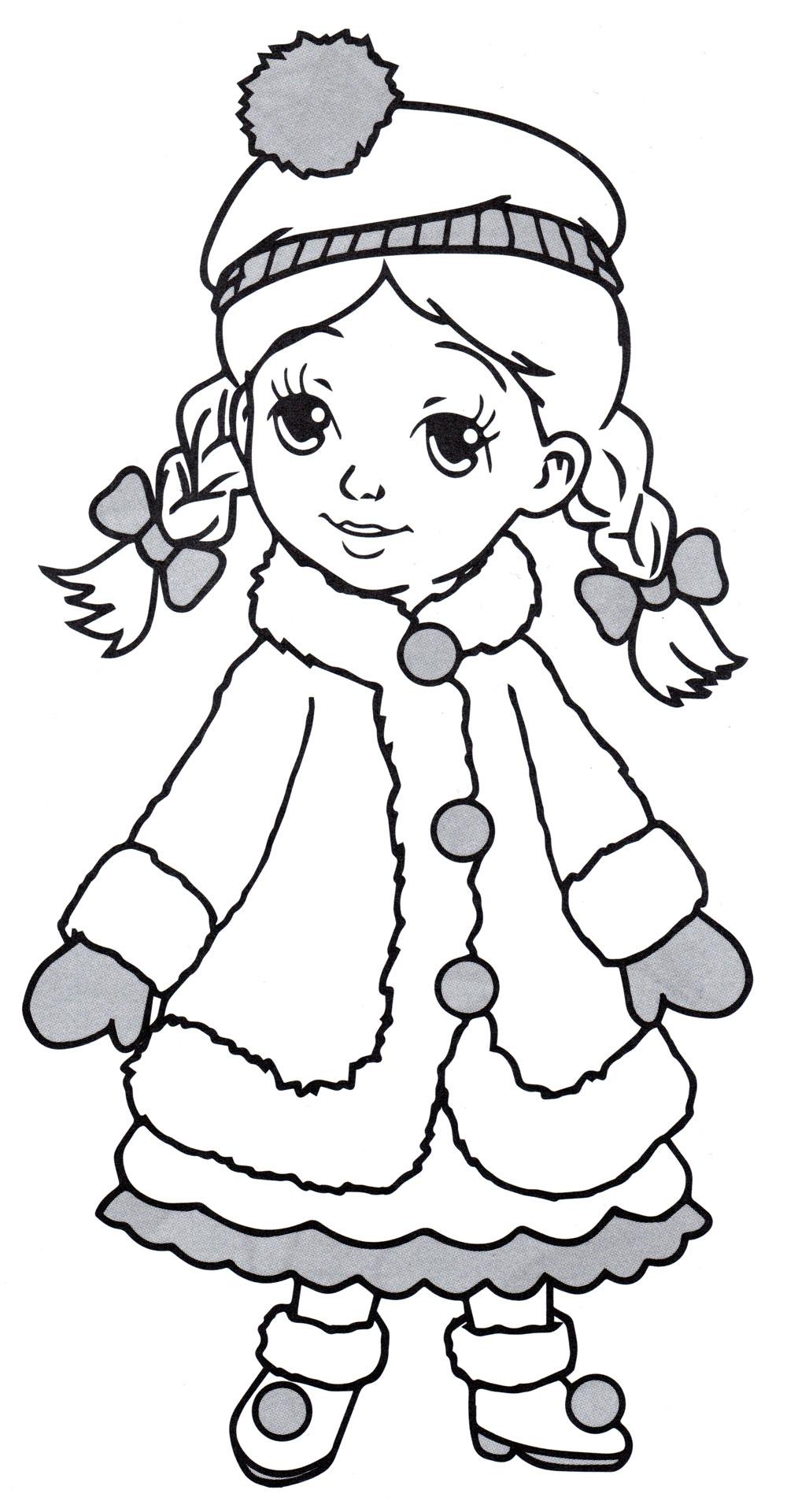 Раскраска Принцесса зимой - распечатать бесплатно