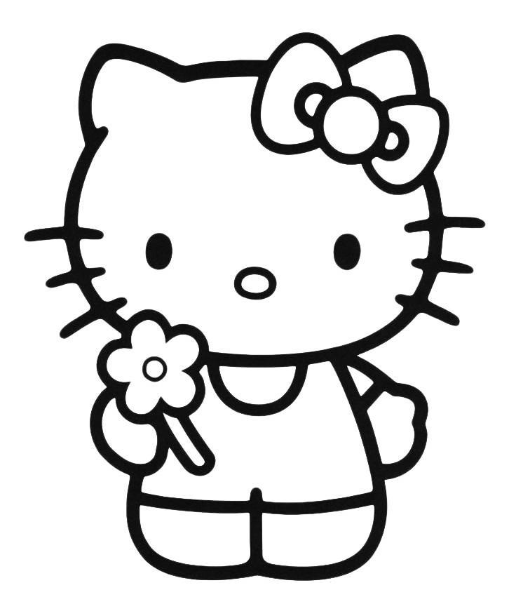 Раскраска Хелло Китти держит цветочек - распечатать бесплатно
