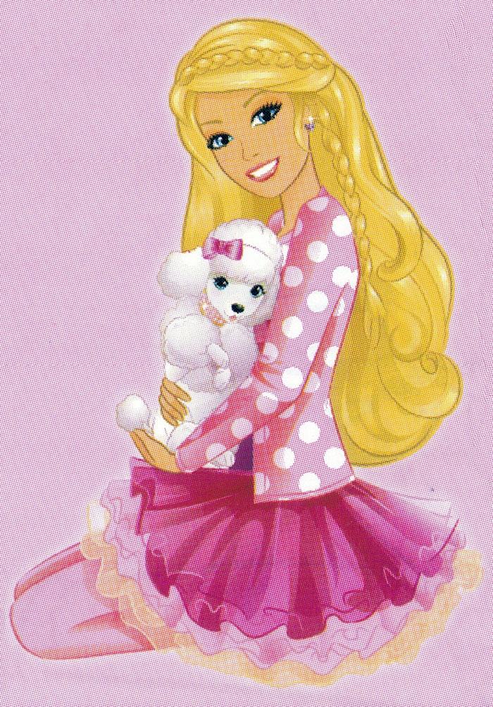 Раскраска Барби с собачкой - распечатать бесплатно