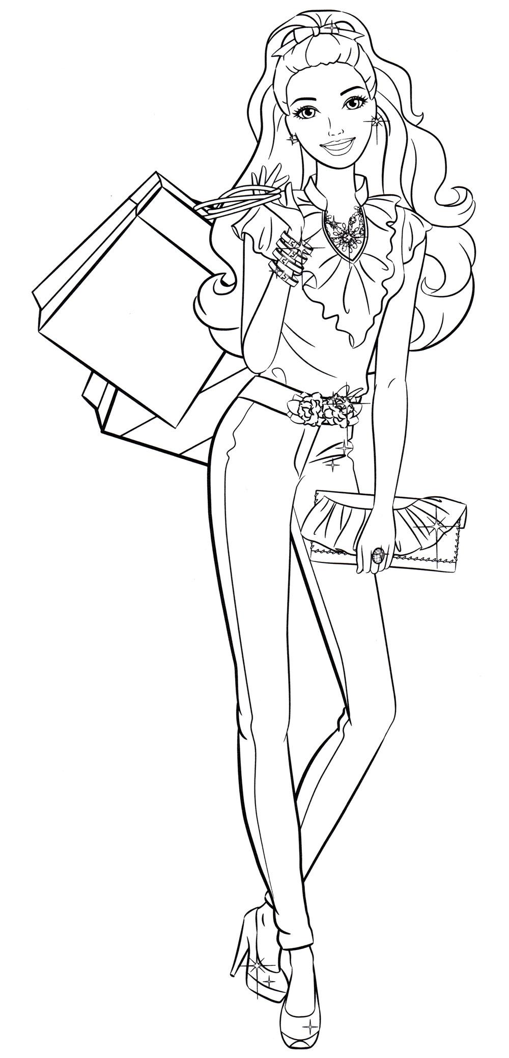 Раскраска Барби с покупками - распечатать бесплатно