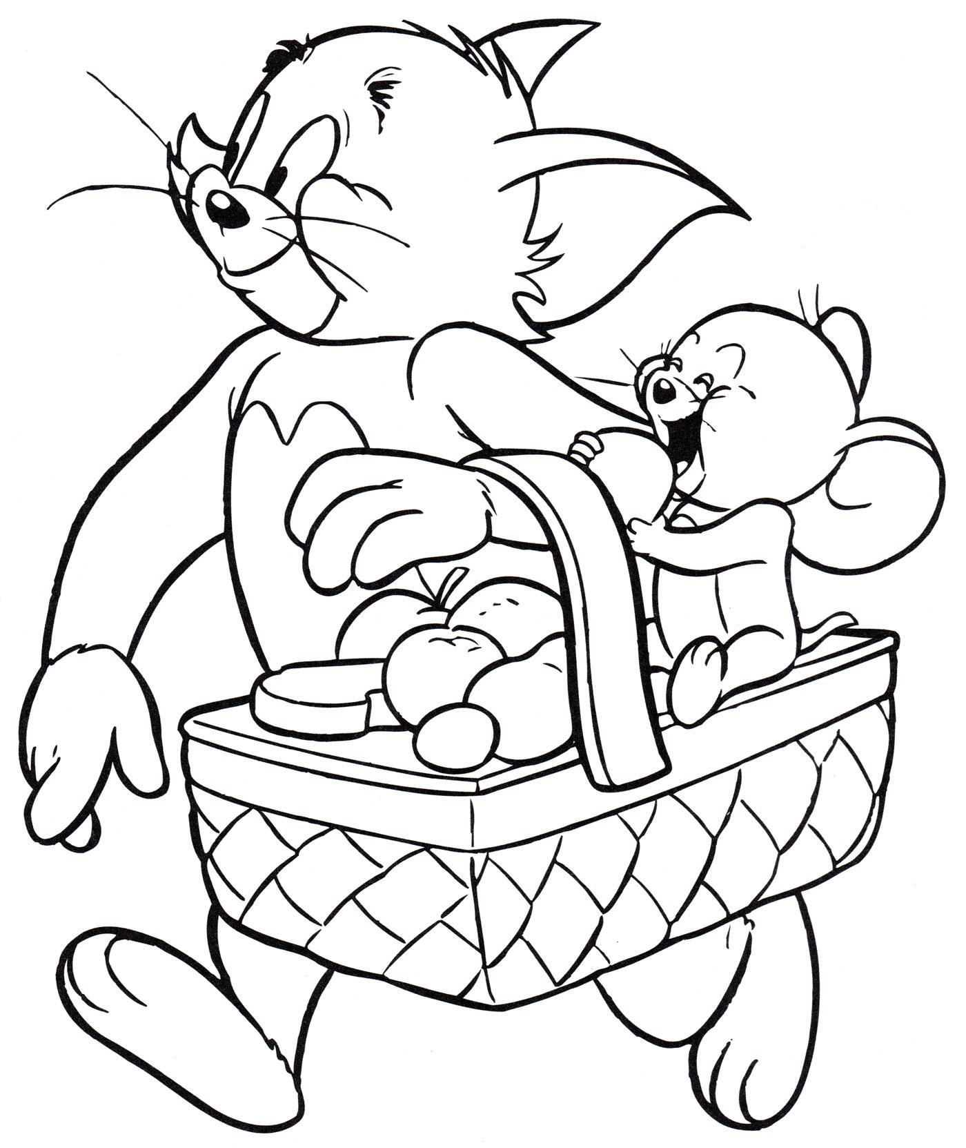 Раскраска Том и Джерри идут на пикник | Раскраски Том и Джерри
