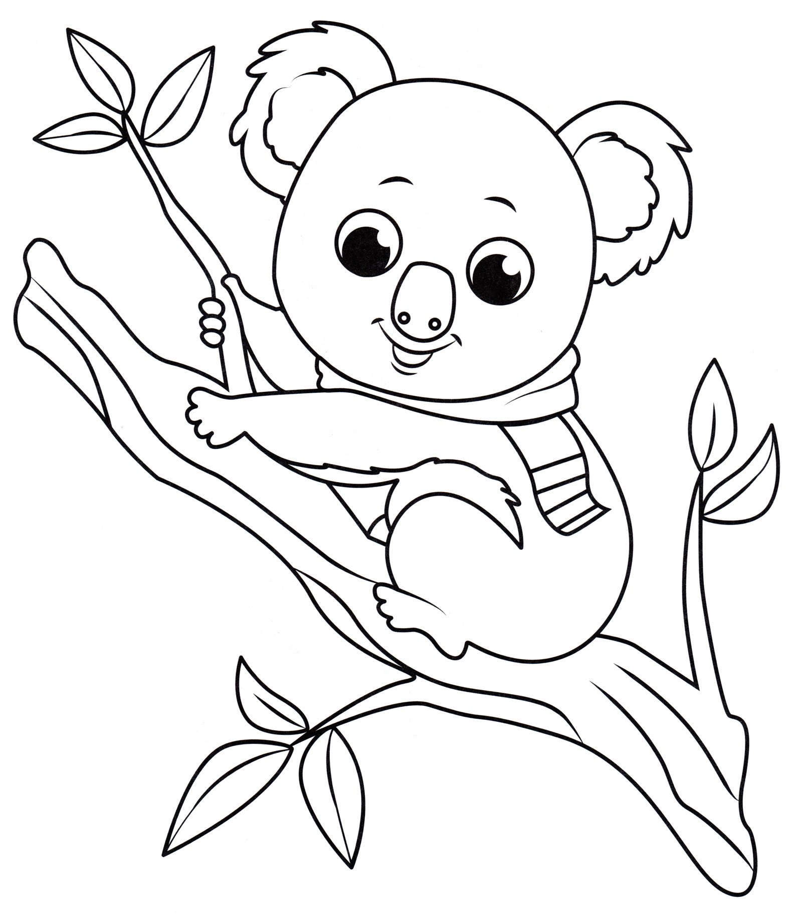 Раскраска Коала на дереве - распечатать бесплатно