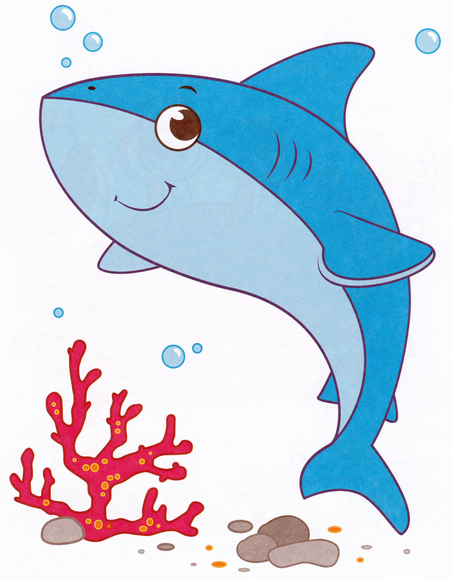 Раскраска Милая акула - распечатать бесплатно