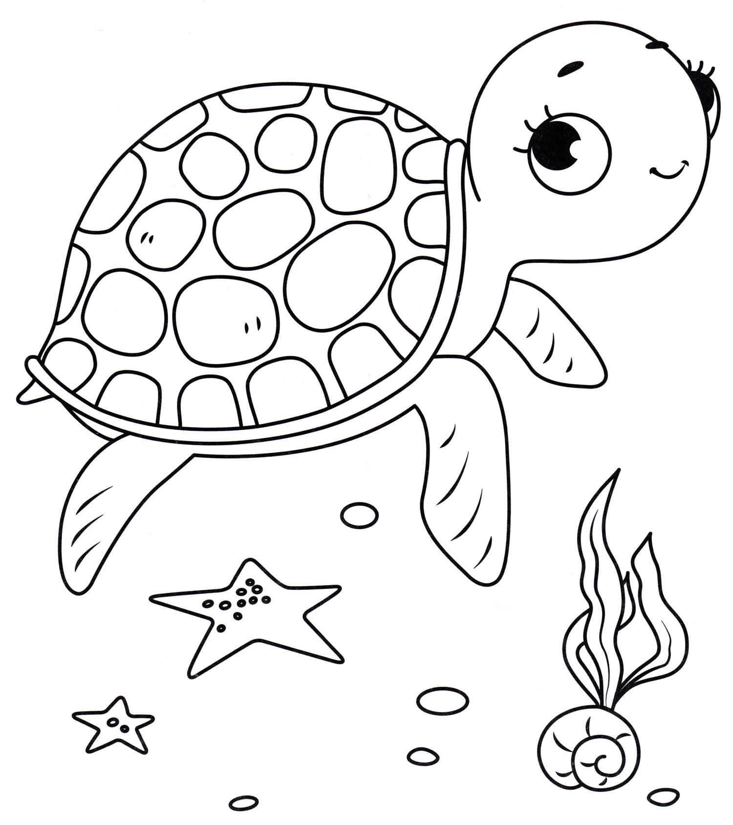 Раскраска Малышка черепашка - распечатать бесплатно