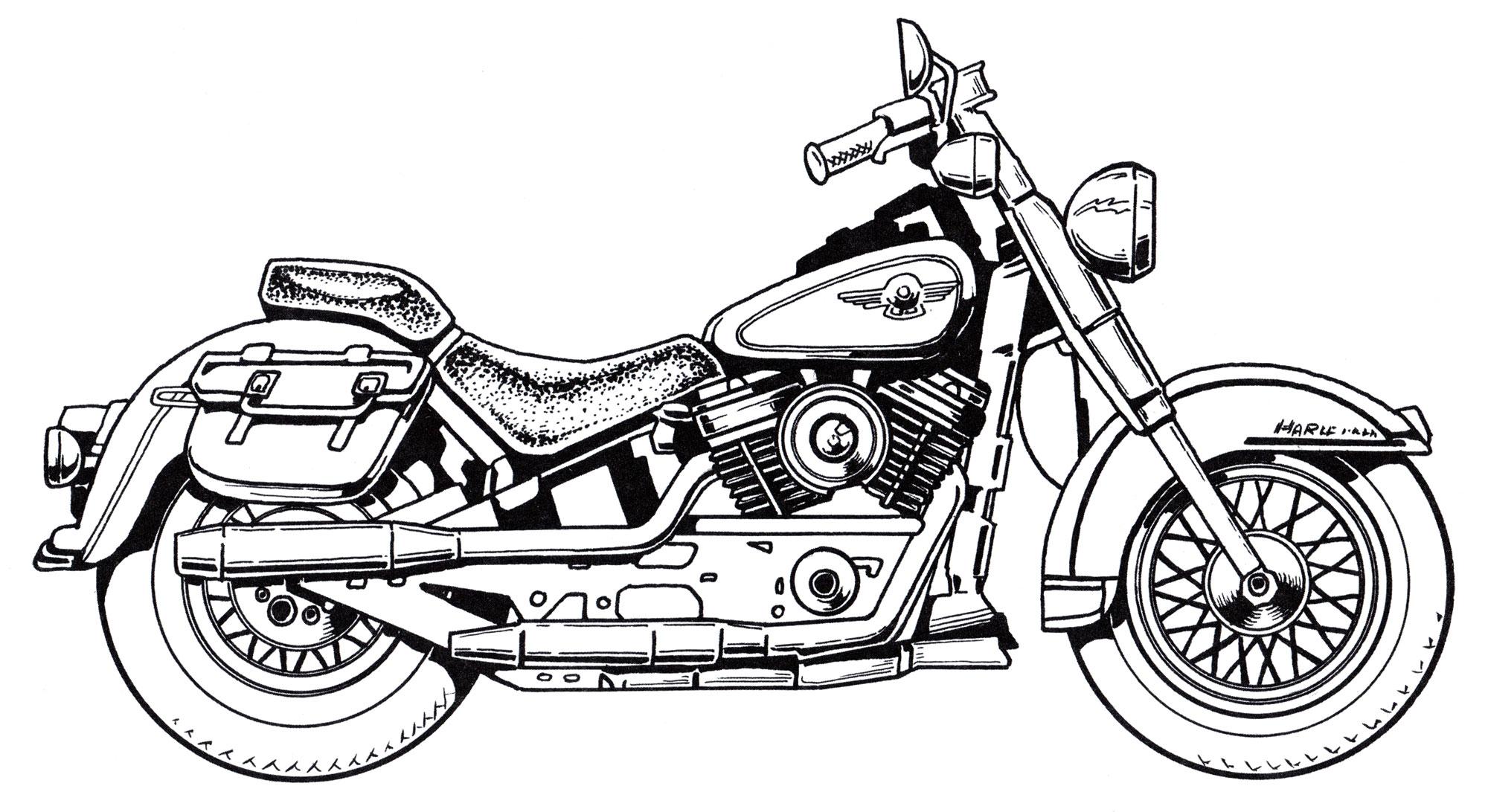Раскраска Байкерский Харлей-Дэвидсон | Раскраски мотоциклы