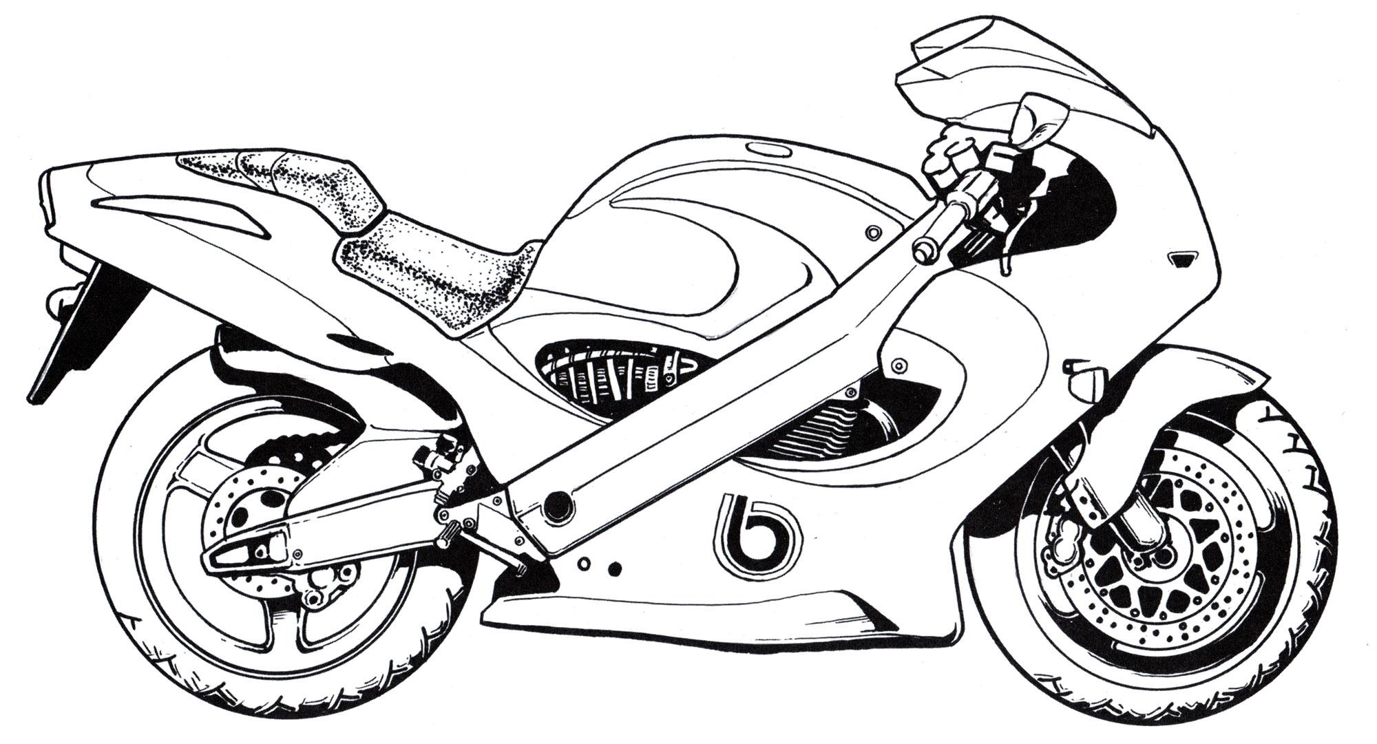 Картинки мотоцикл раскраска