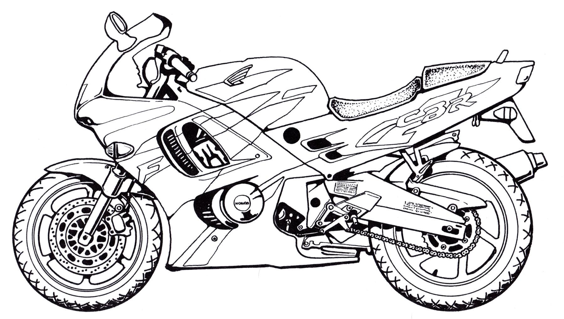 распечатать раскраски мотоциклы крутой самый