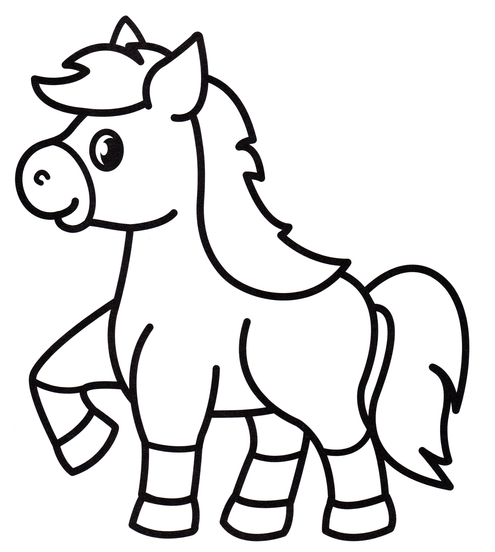 Раскраска Игривая лошадка - распечатать бесплатно