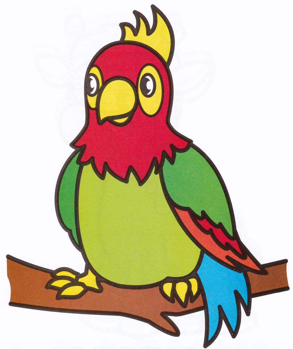 Раскраска Попугай на дереве - распечатать бесплатно