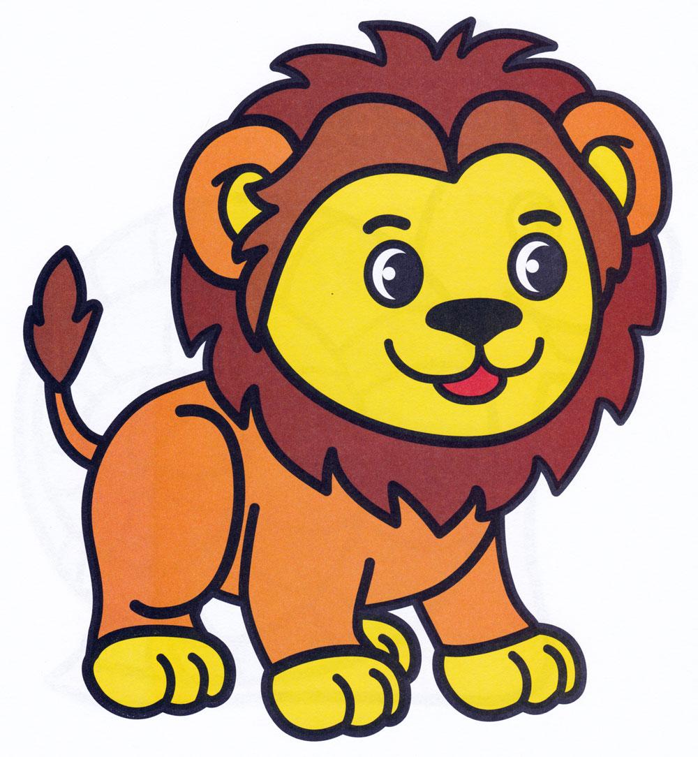 Картинка львенка для детей на белом фоне раскраска