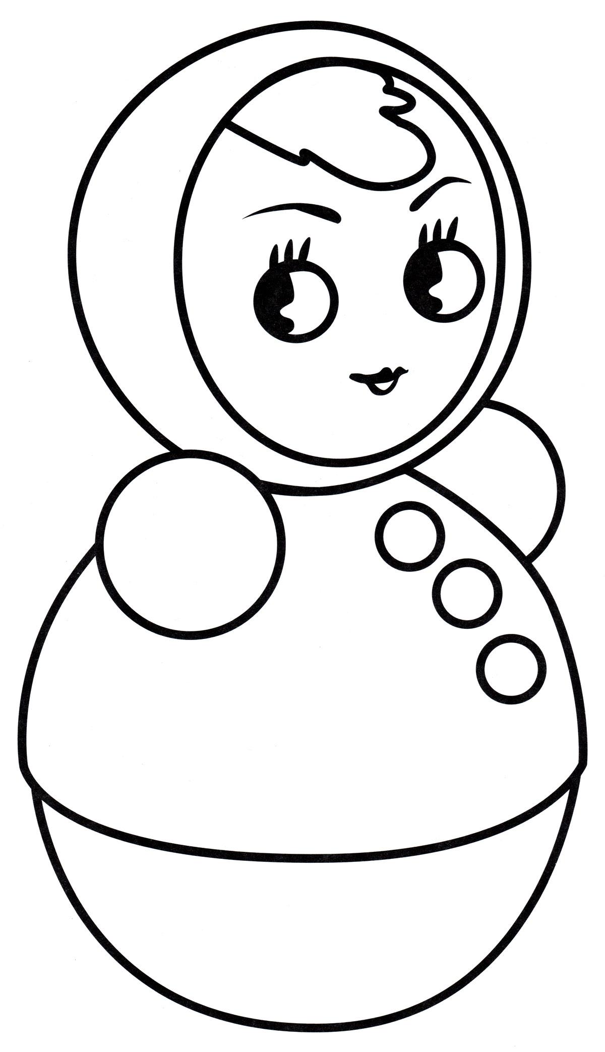 Раскраска Девочка неваляшка - распечатать бесплатно