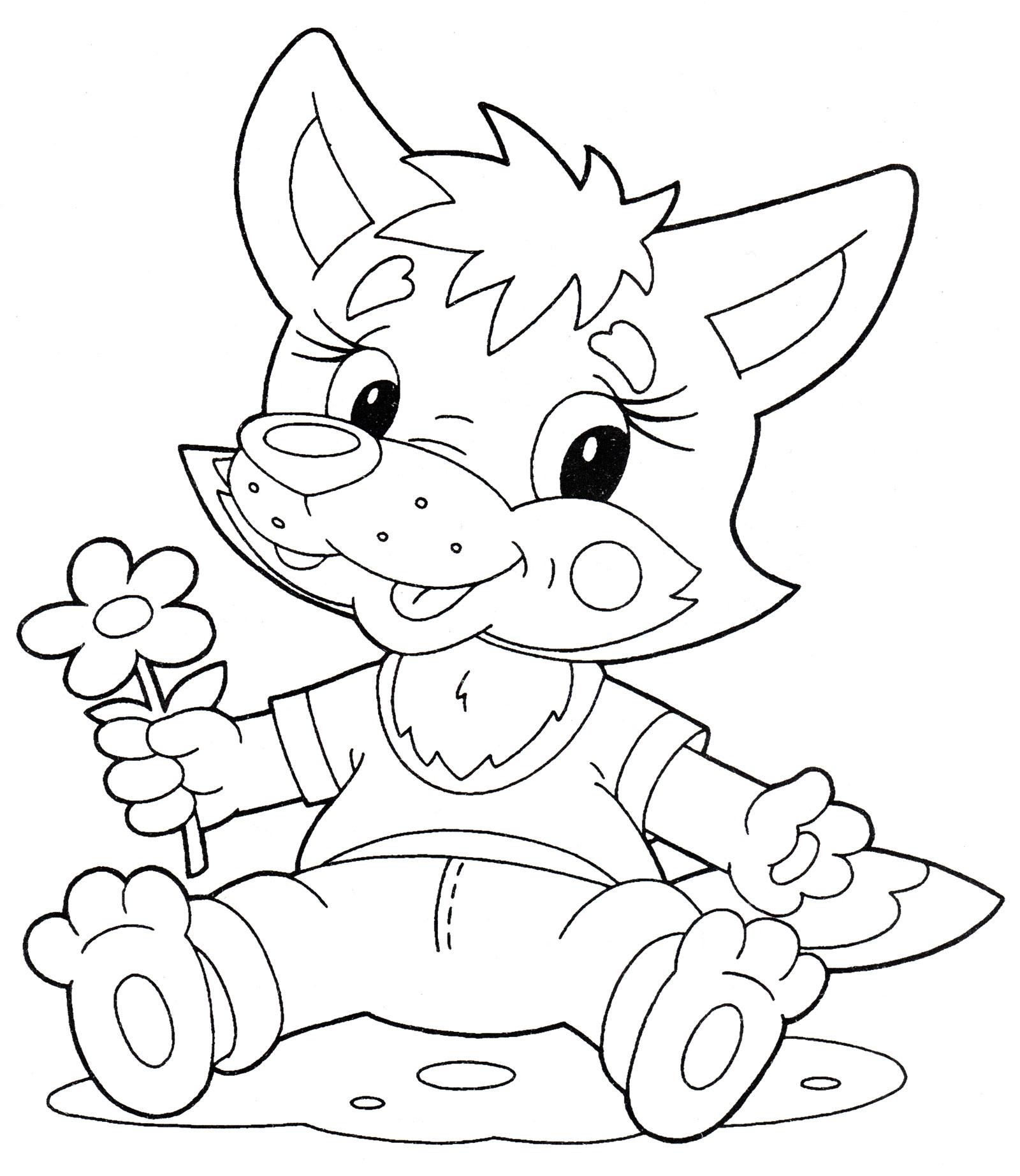 Раскраска Волчонок с цветочком - распечатать бесплатно