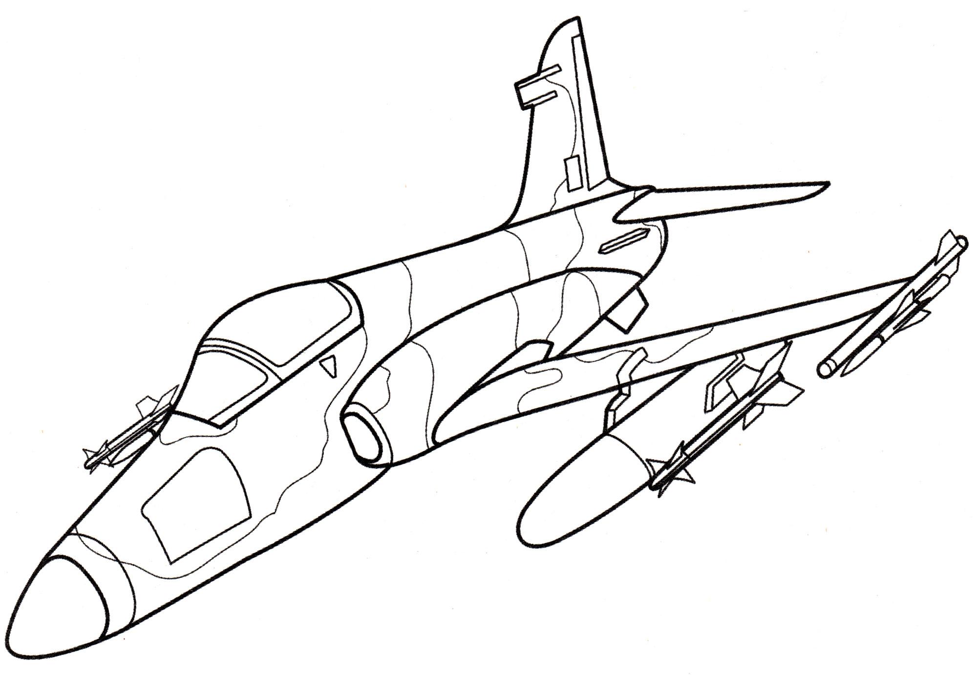 раскраска самолет штурмовик Hawk Mk 200 распечатать бесплатно