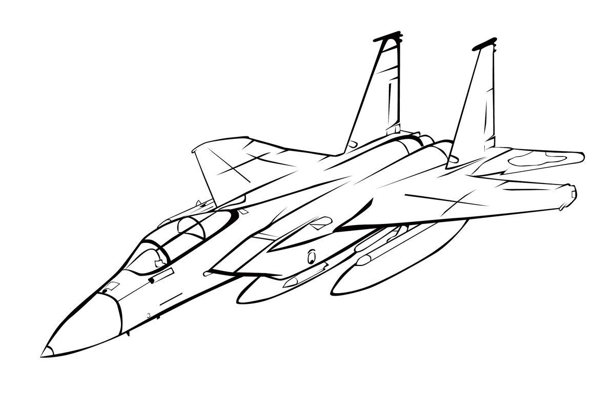Раскраска Военный самолет истребитель в полете ...