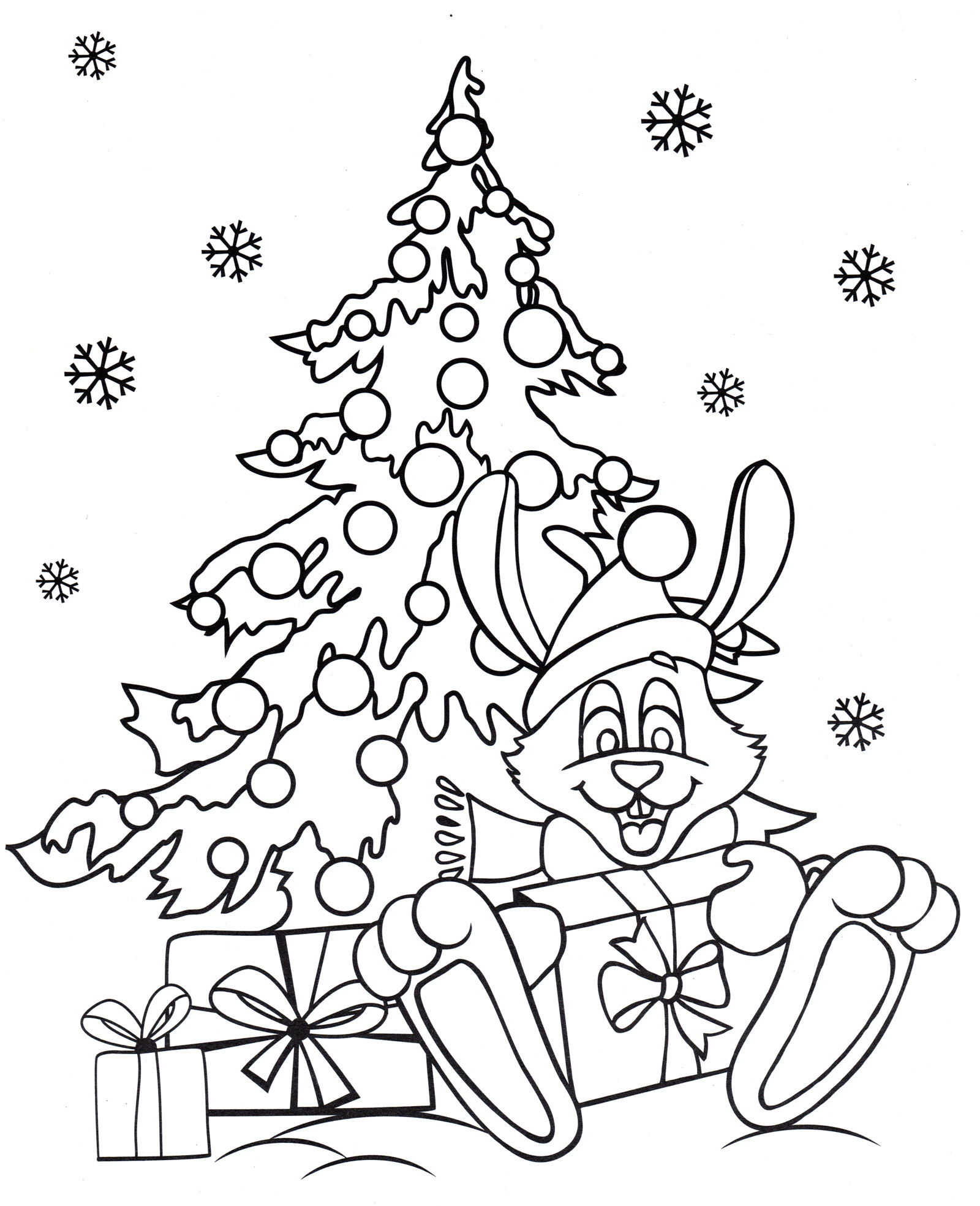 Раскраска Заяц у елки - распечатать бесплатно
