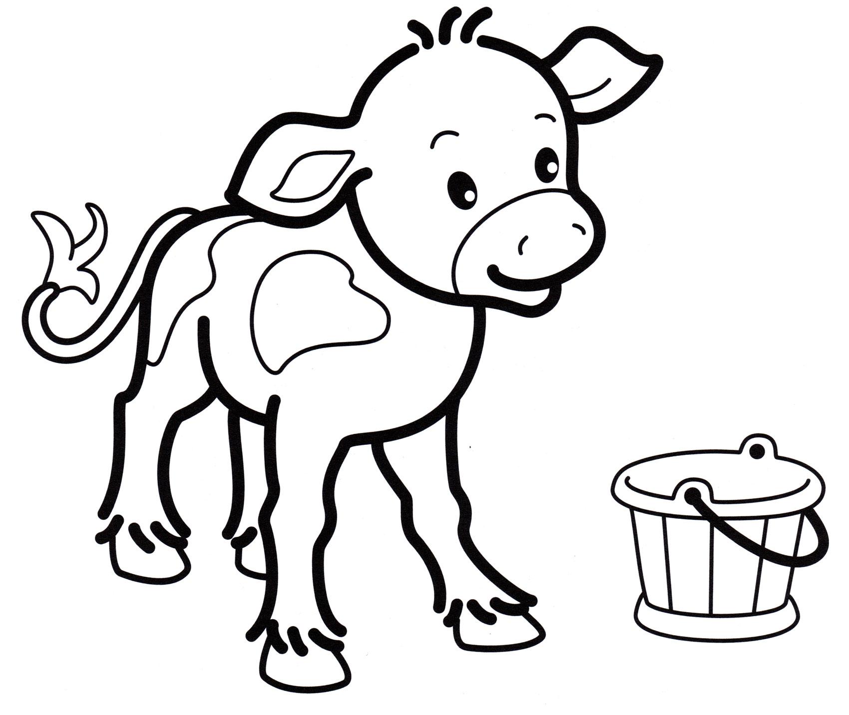 Раскраска Маленький теленок - распечатать бесплатно