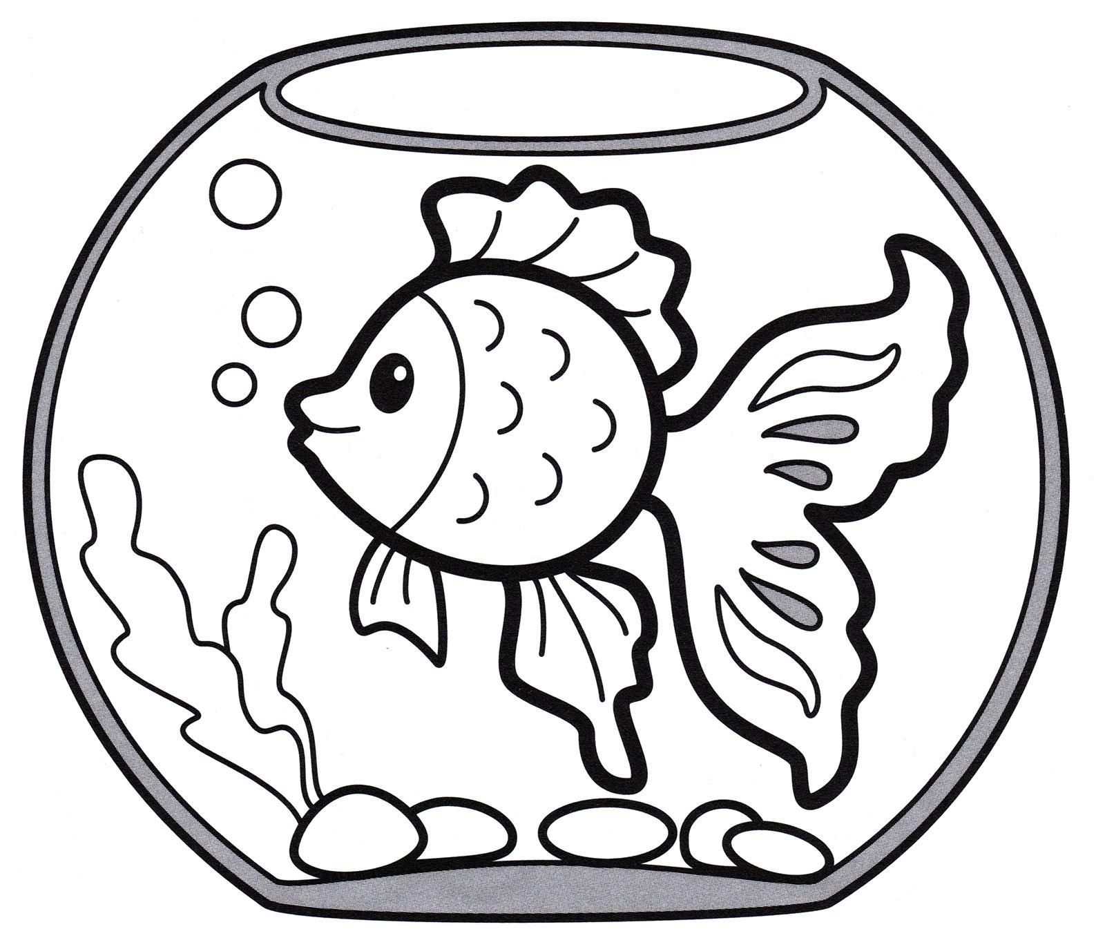 Раскраска Рыбка в аквариуме - распечатать бесплатно