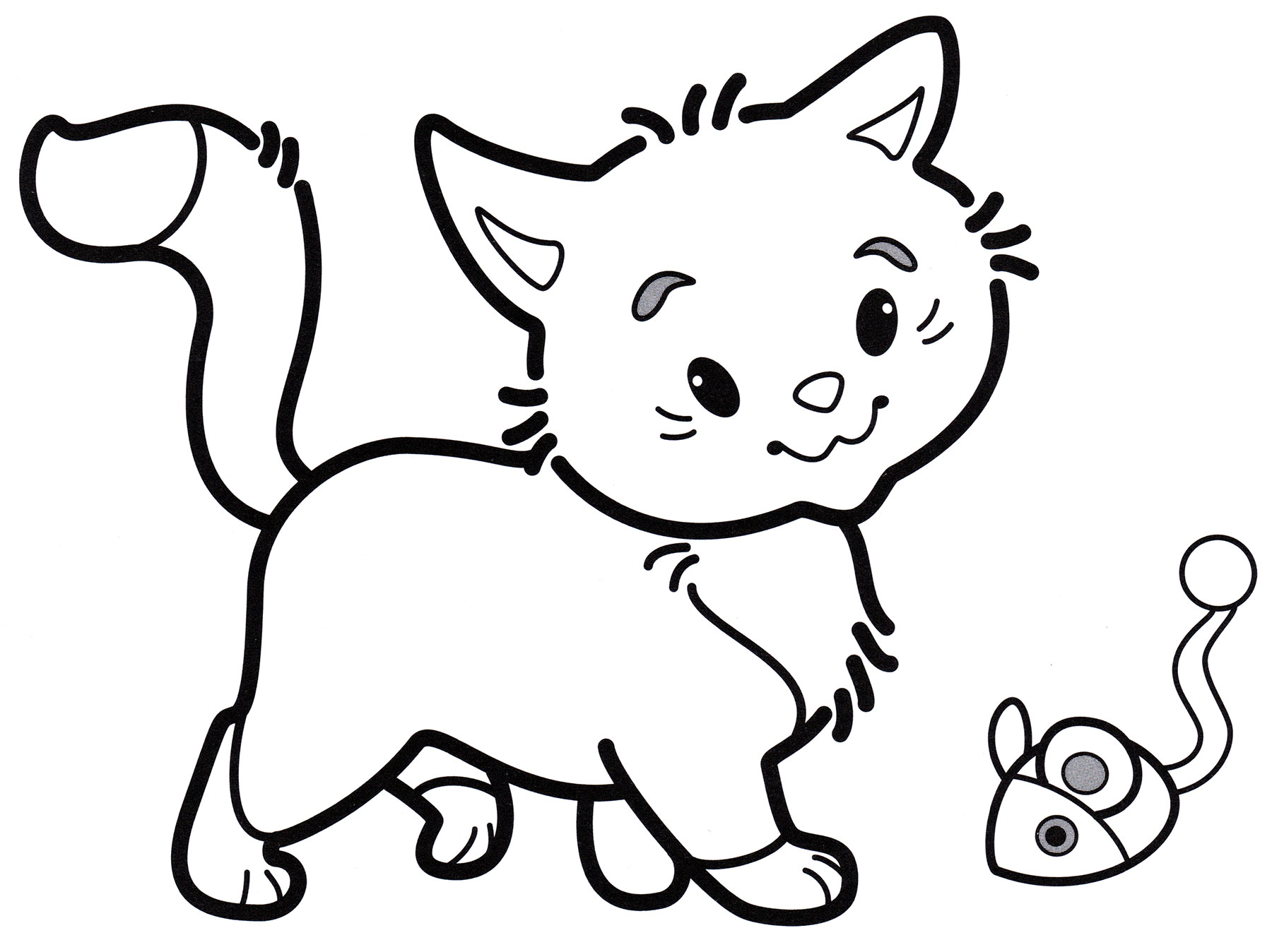 Раскраска Котенок играет с мышкой - распечатать бесплатно