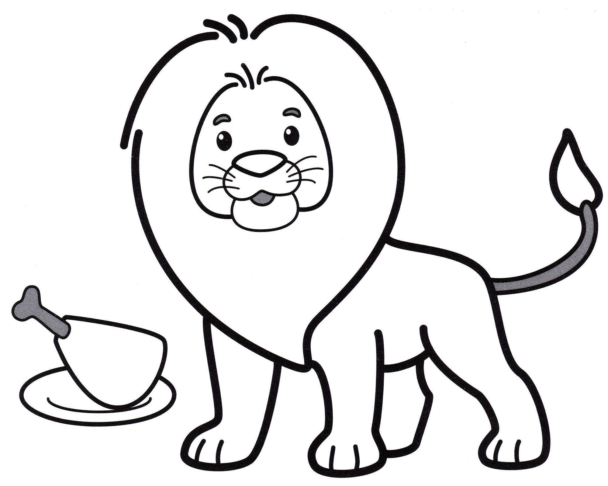 Раскраска Грозный лев - распечатать бесплатно
