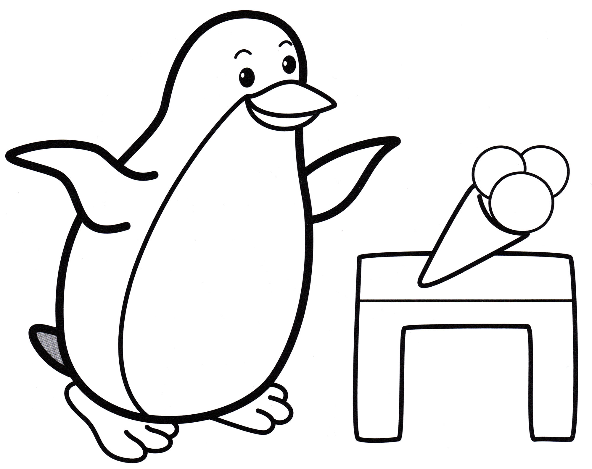 Раскраска Пингвин с мороженым - распечатать бесплатно