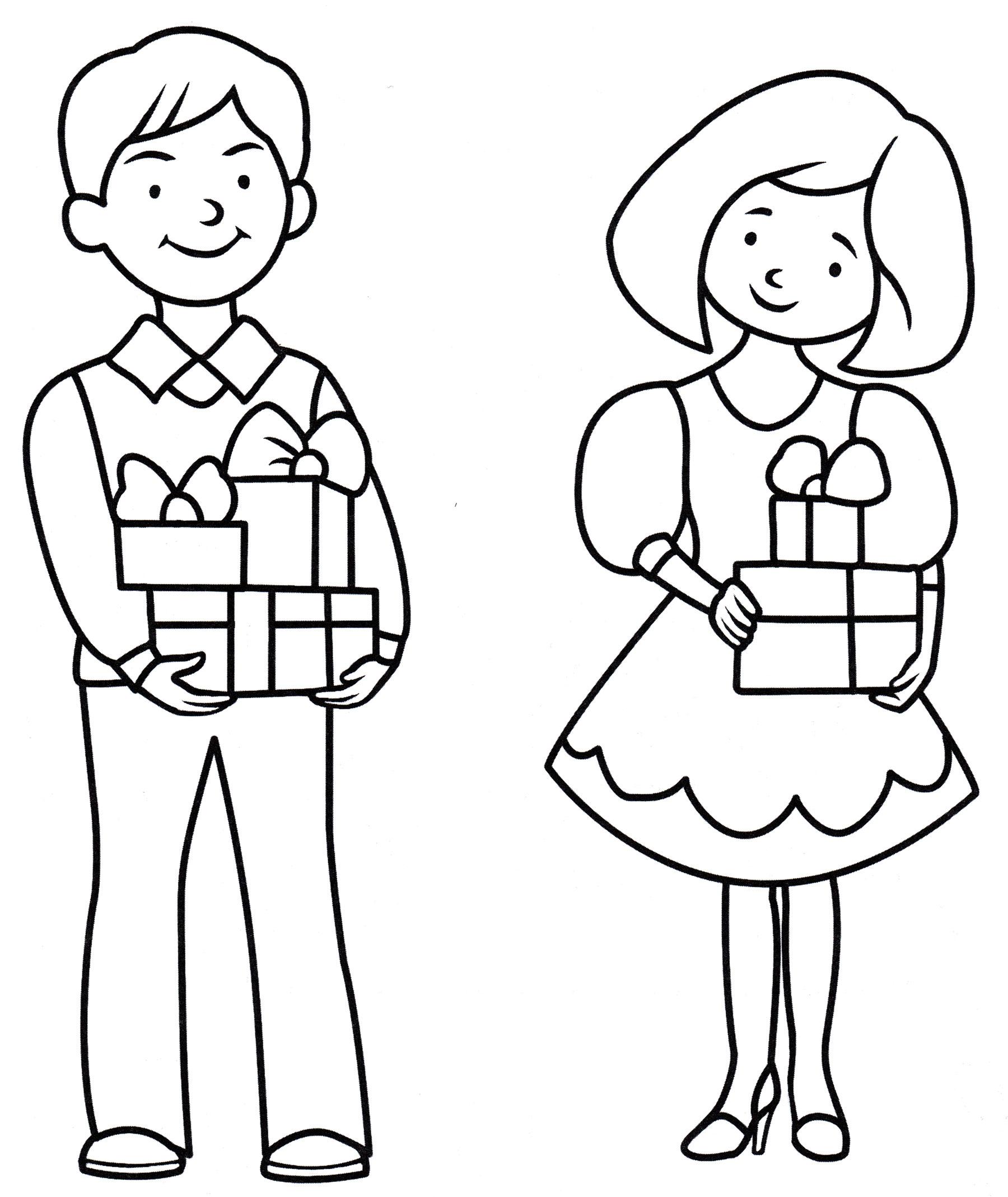 Раскраска Родители с подарками - распечатать бесплатно