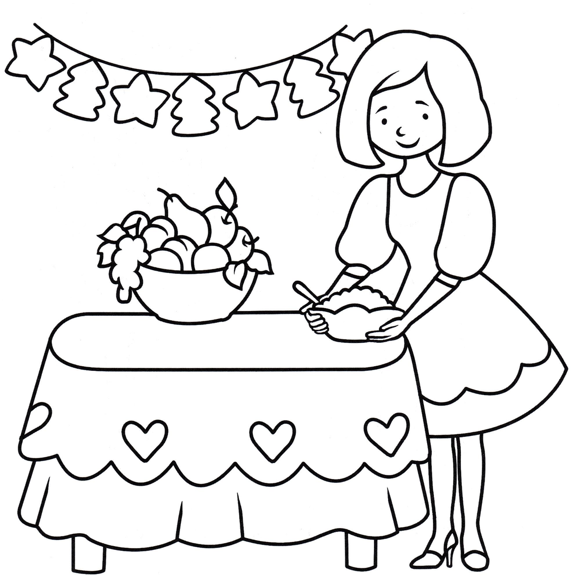 Раскраска Мама готовит новогодний стол - распечатать бесплатно