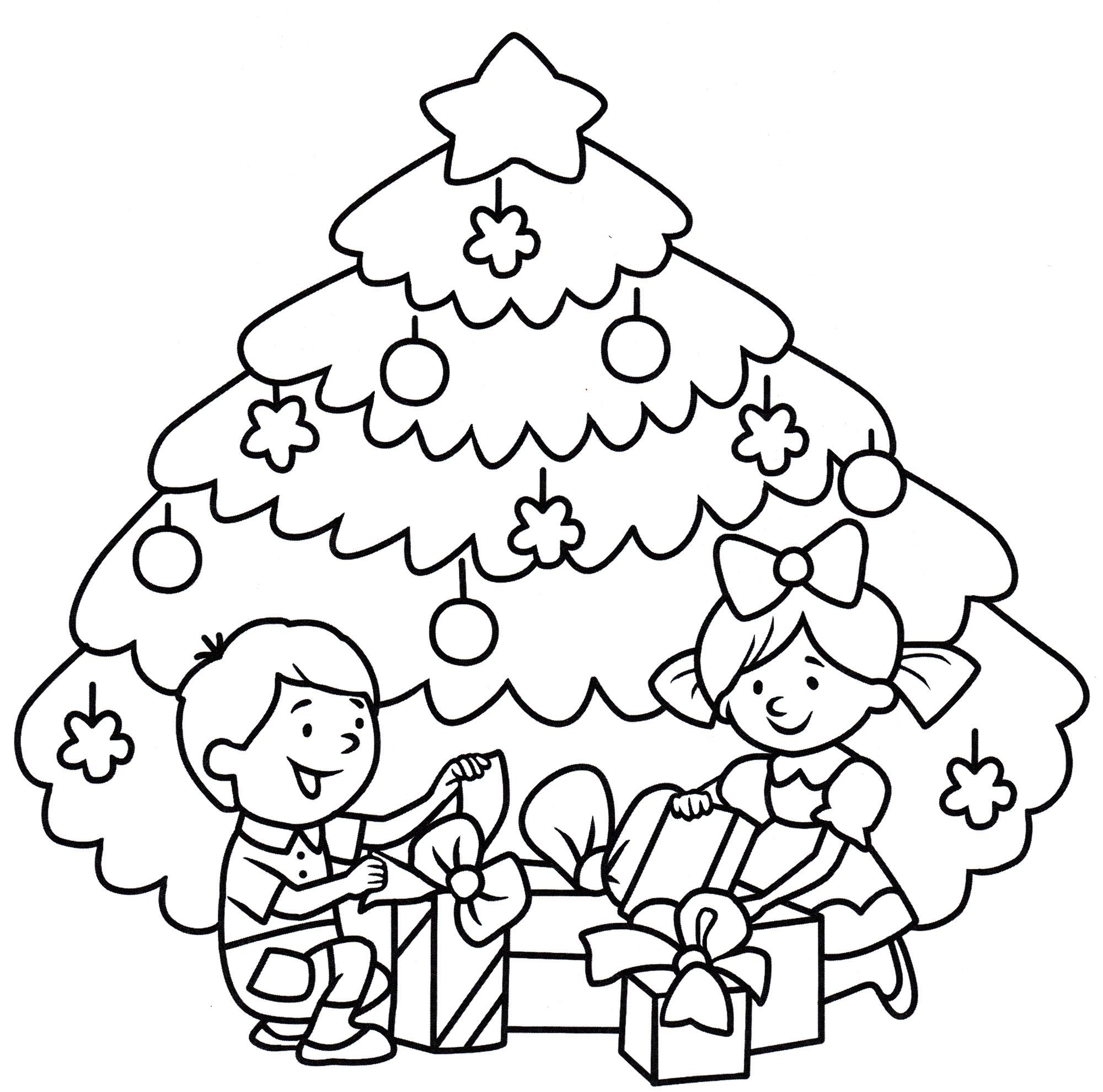 Раскраска Дети открывают подарки - распечатать бесплатно
