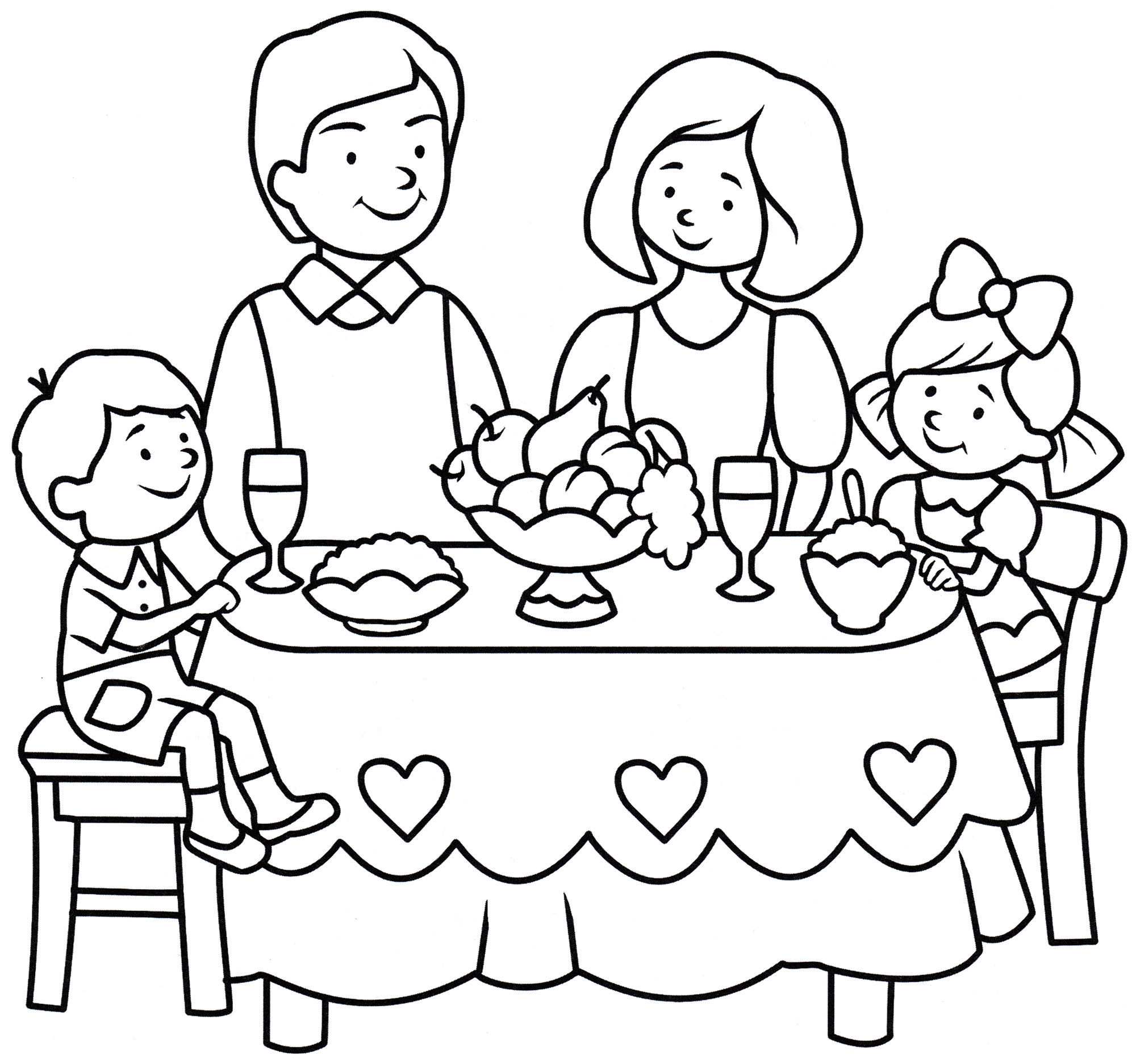 Раскраска Семья за новогодним столом - распечатать бесплатно