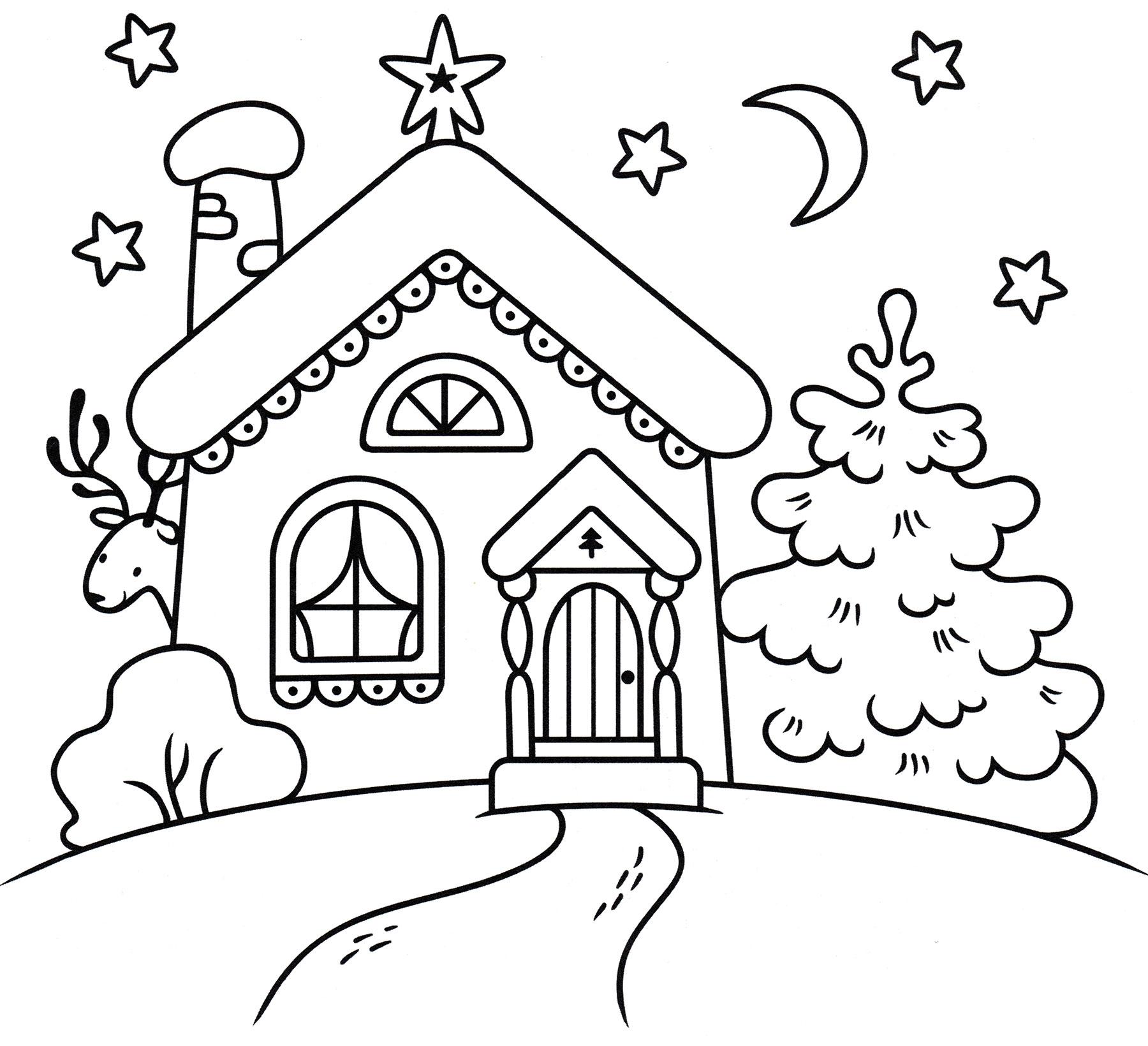 Раскраска Дом деда мороза зимой - распечатать бесплатно