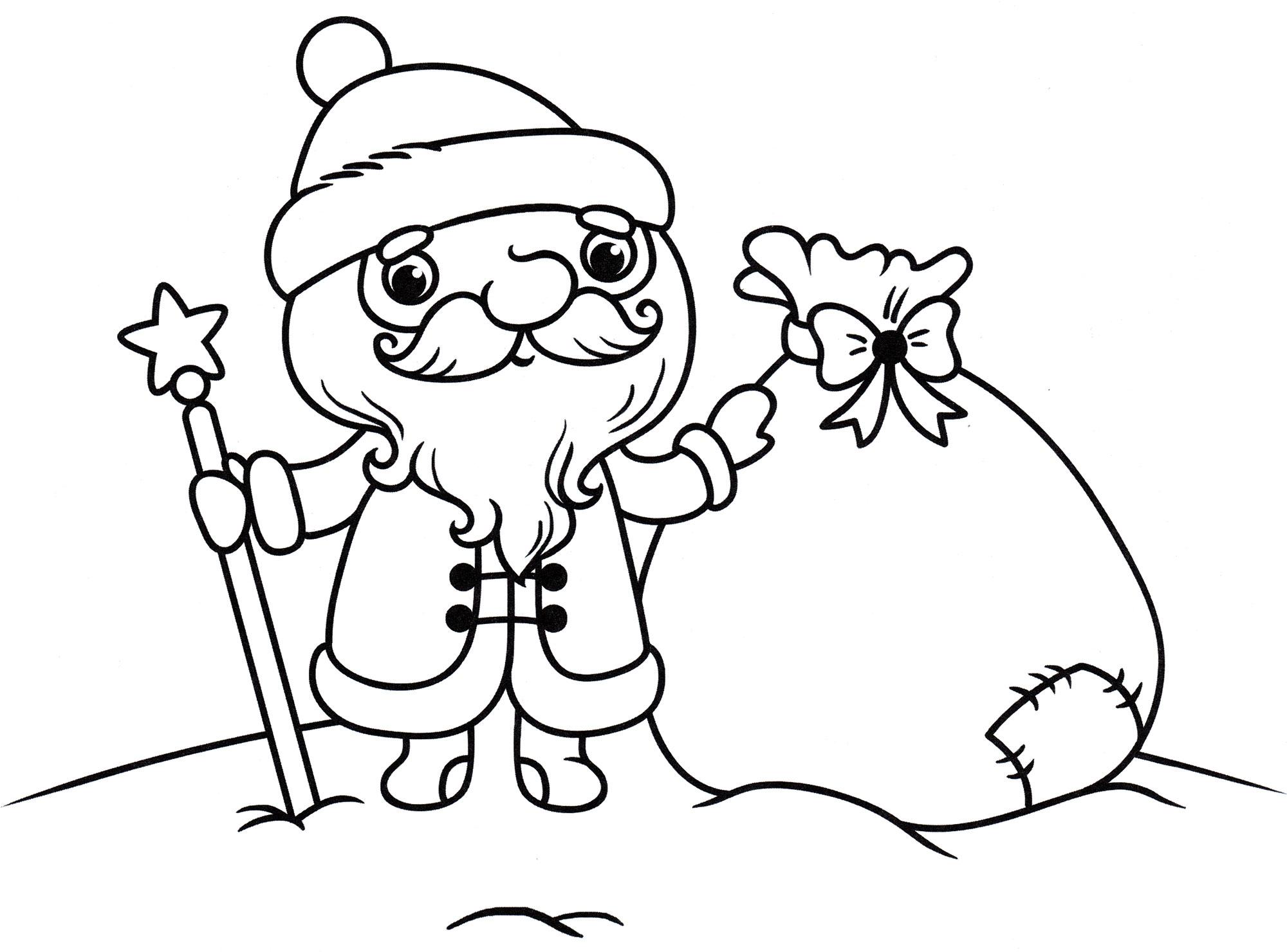 Раскраска Дед мороз и мешок подарков - распечатать бесплатно
