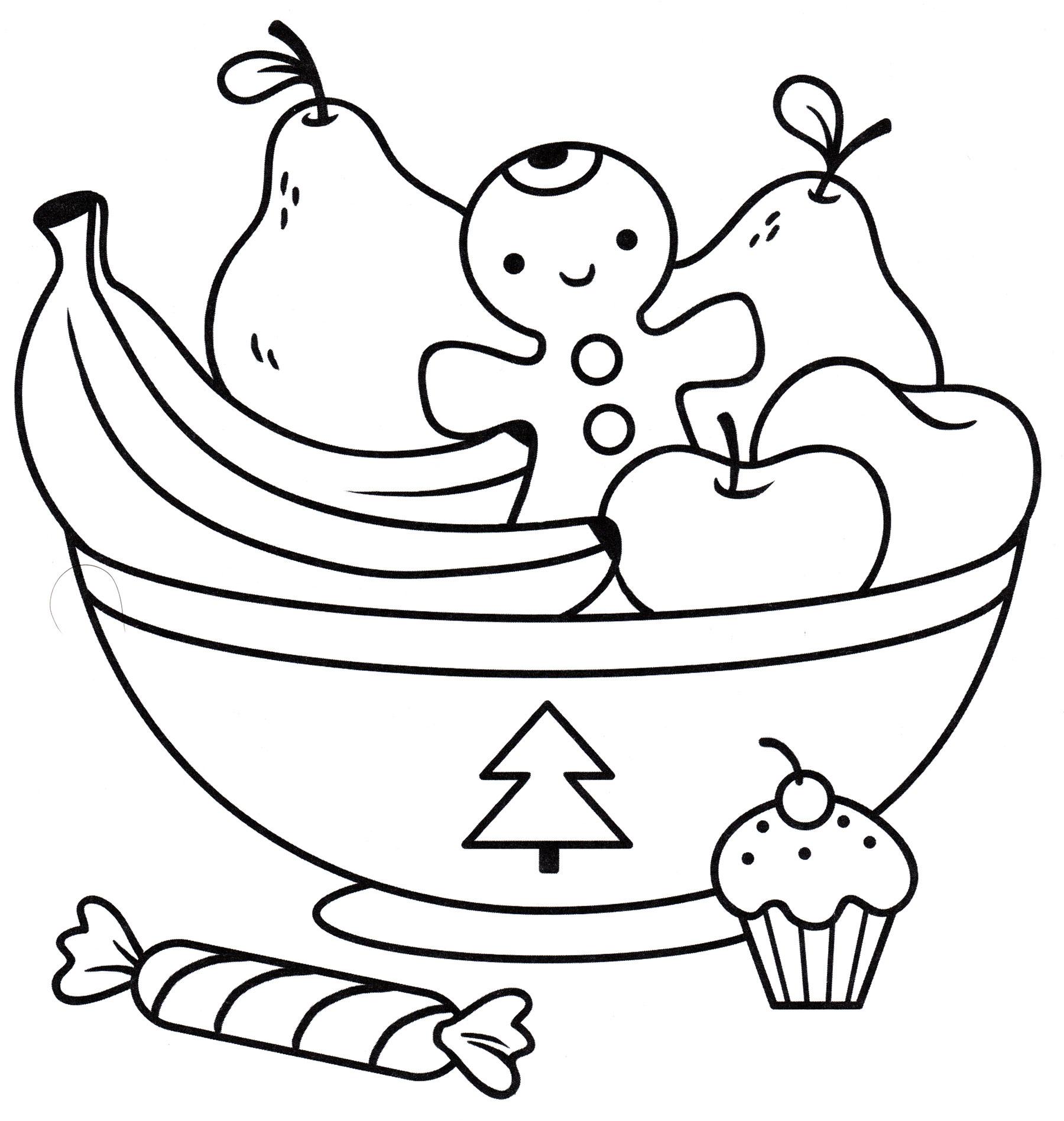 Раскраска Тарелка с фруктами - распечатать бесплатно