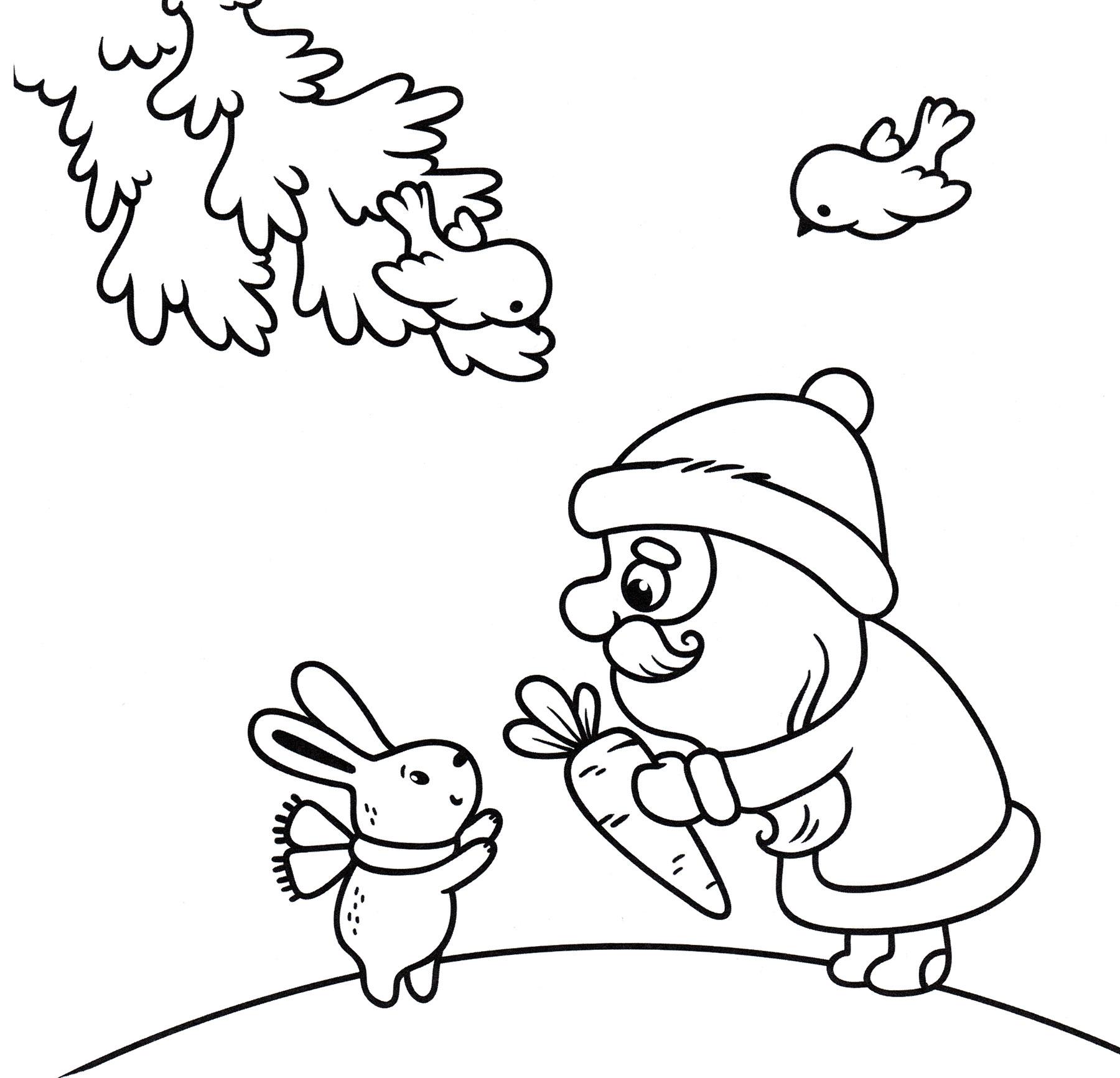 Раскраска Дед мороз и кролик - распечатать бесплатно