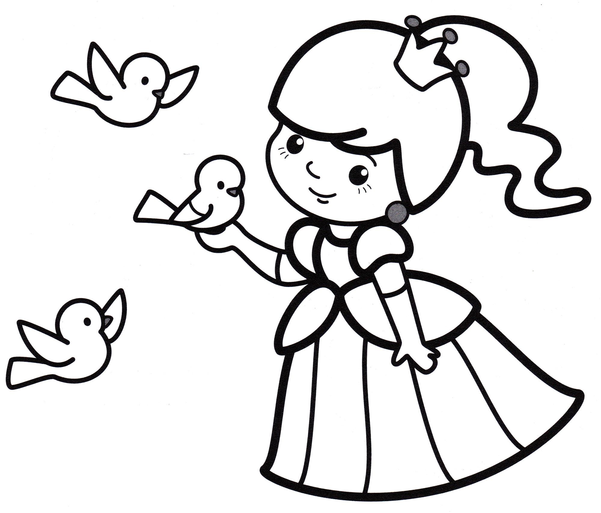 Раскраска Принцесса и птички - распечатать бесплатно