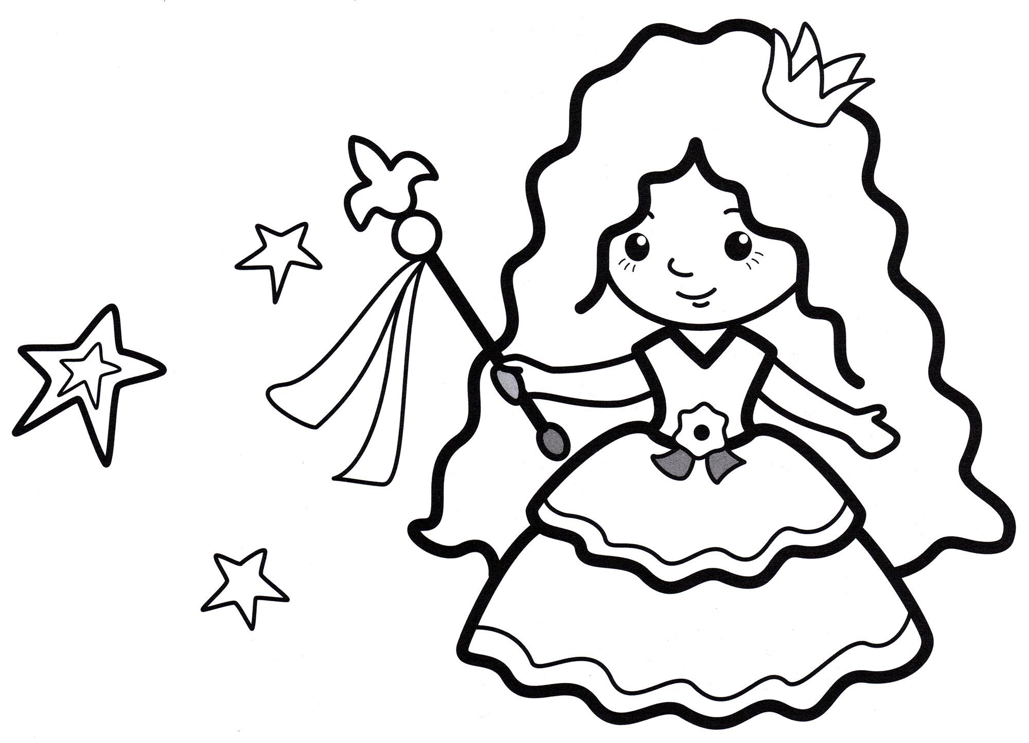 Раскраска Принцесса волшебница - распечатать бесплатно