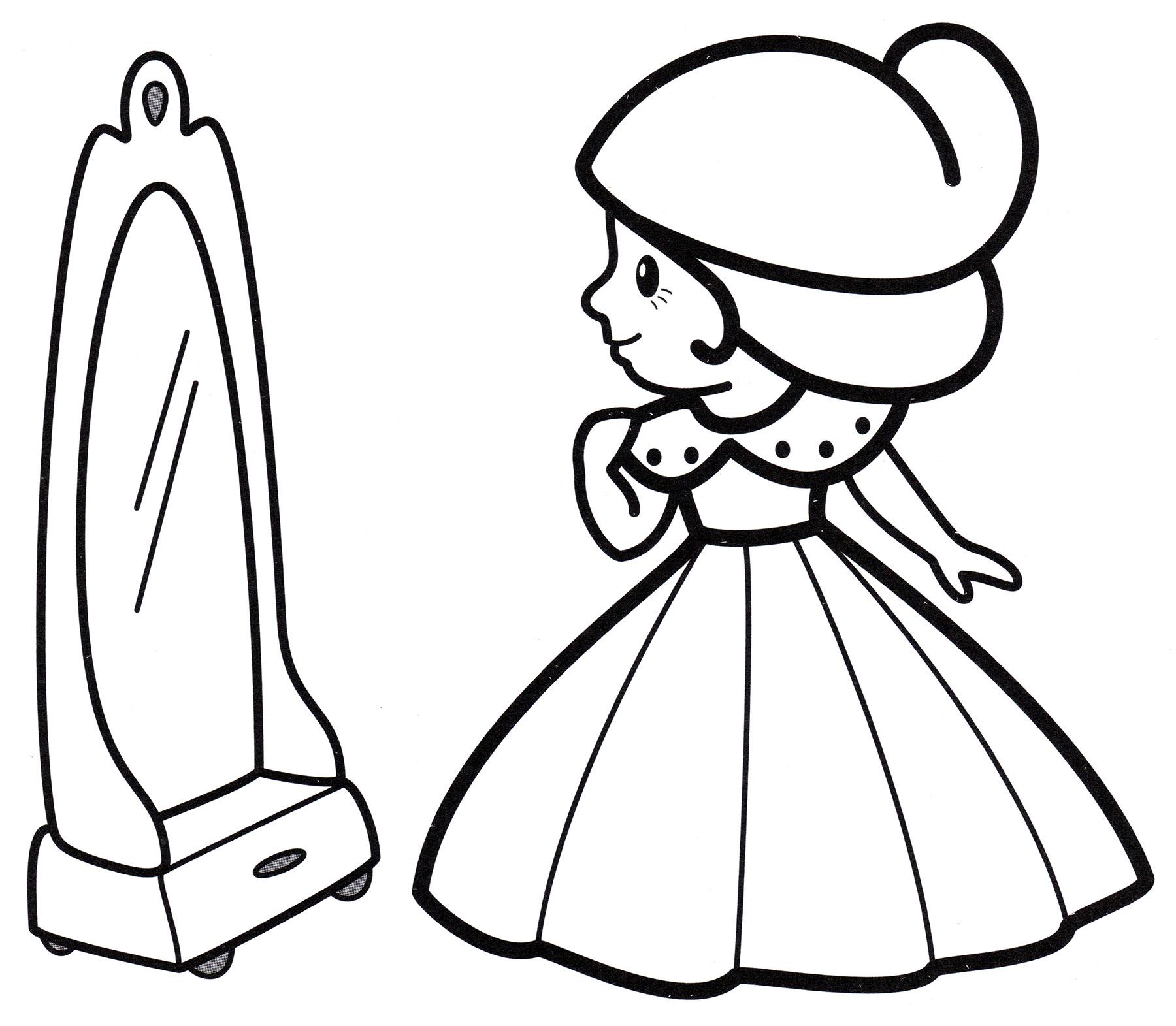 Раскраска Принцесса перед зеркалом - распечатать бесплатно