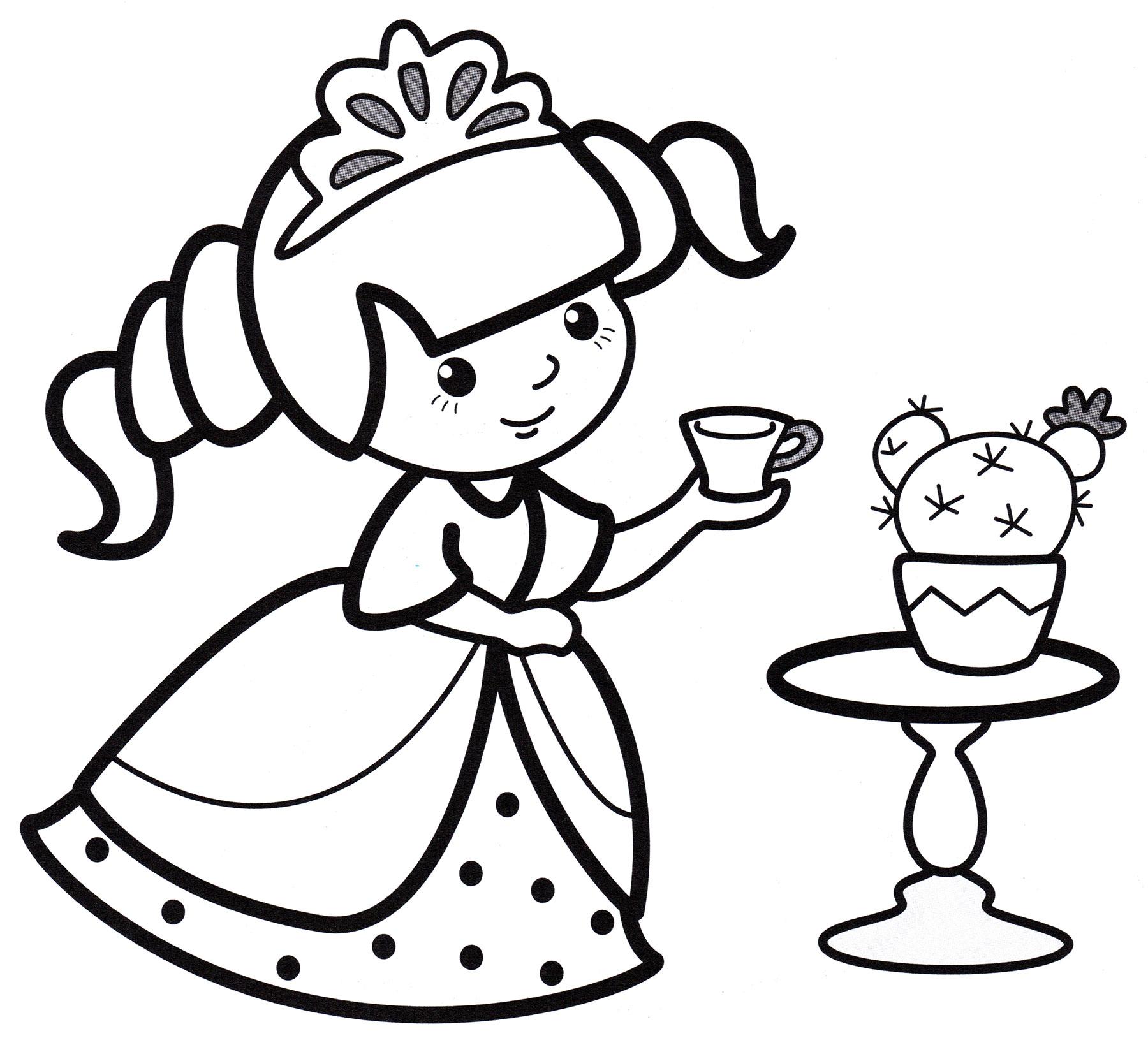 Раскраска Принцесса пьет чай - распечатать бесплатно