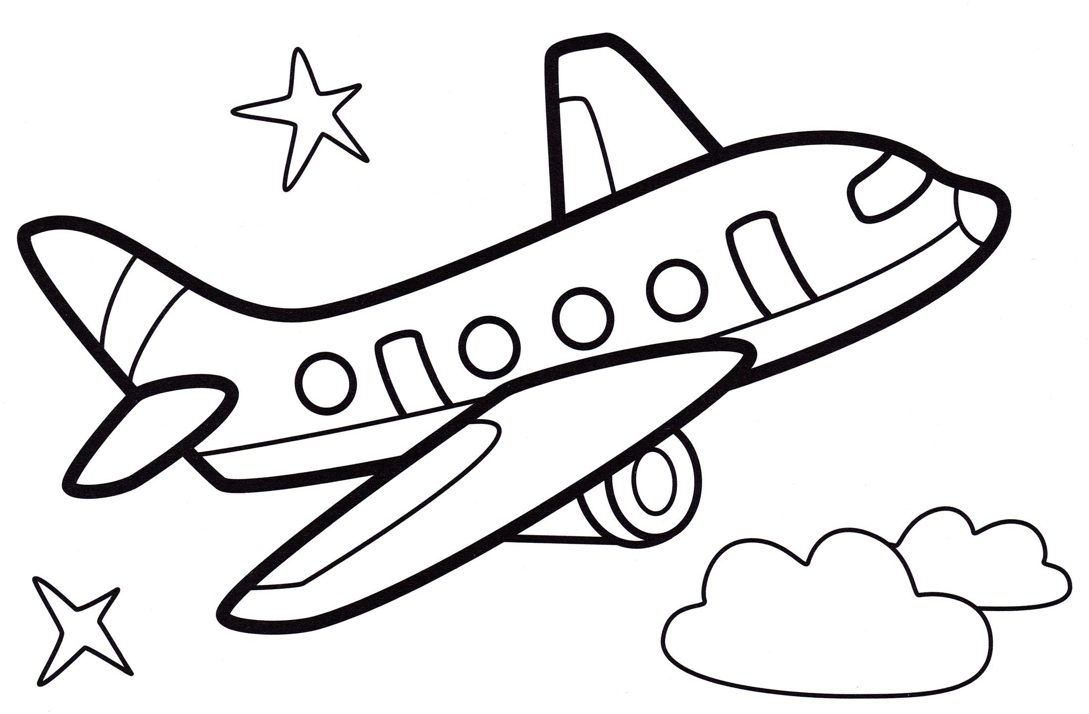 Раскраска Самолет в полете - распечатать бесплатно