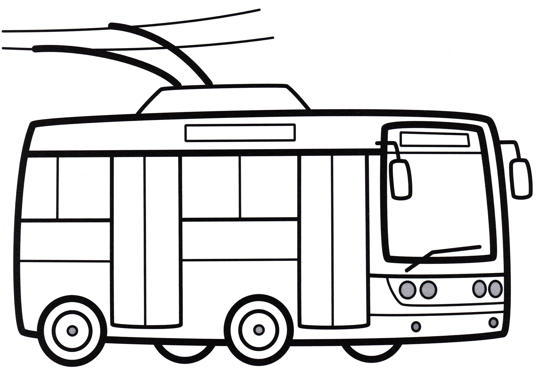 Раскраска Городской троллейбус - распечатать бесплатно