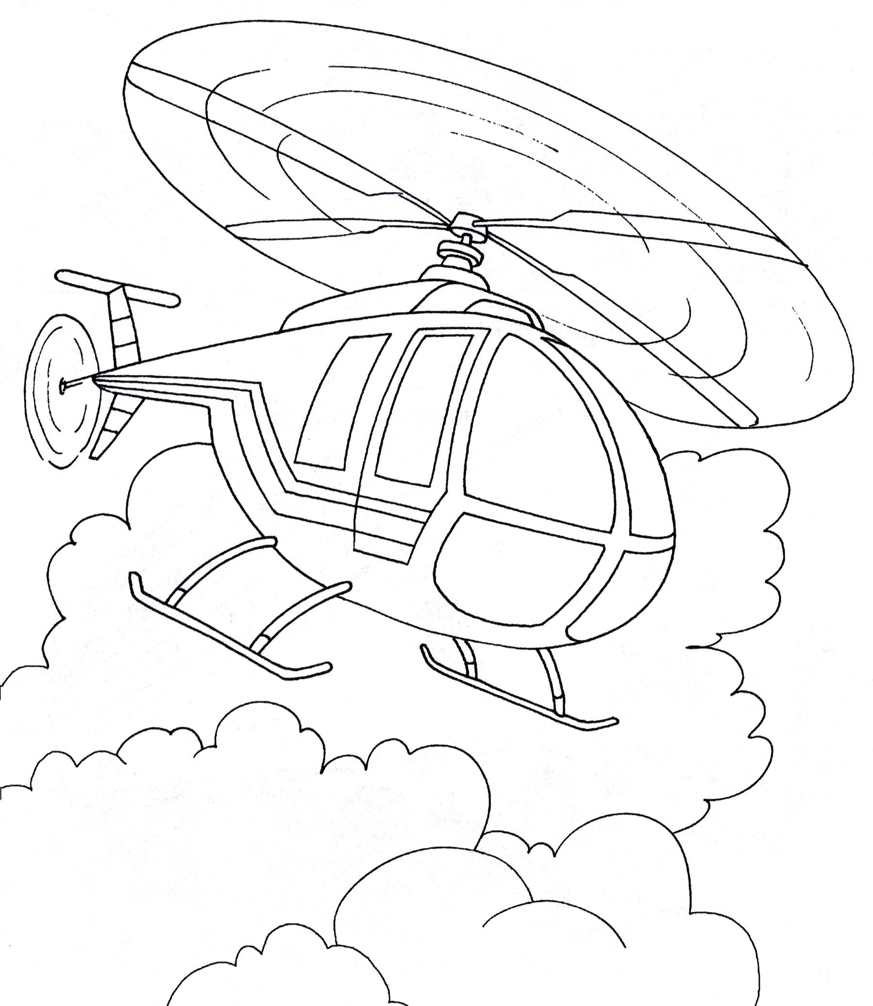 Раскраска Вертолет в полете - распечатать бесплатно