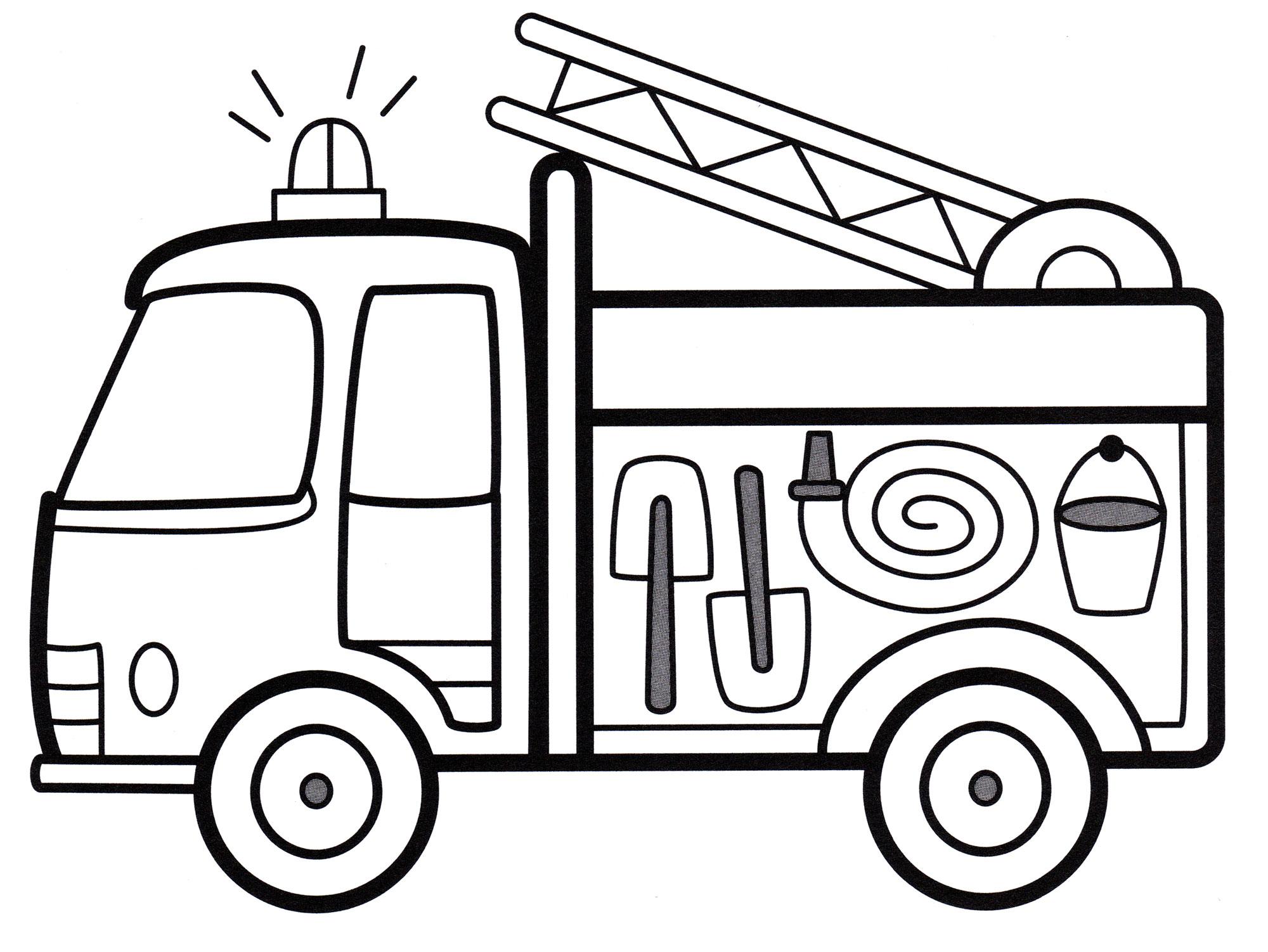 Раскраска Пожарная машина с мигалкой - распечатать бесплатно