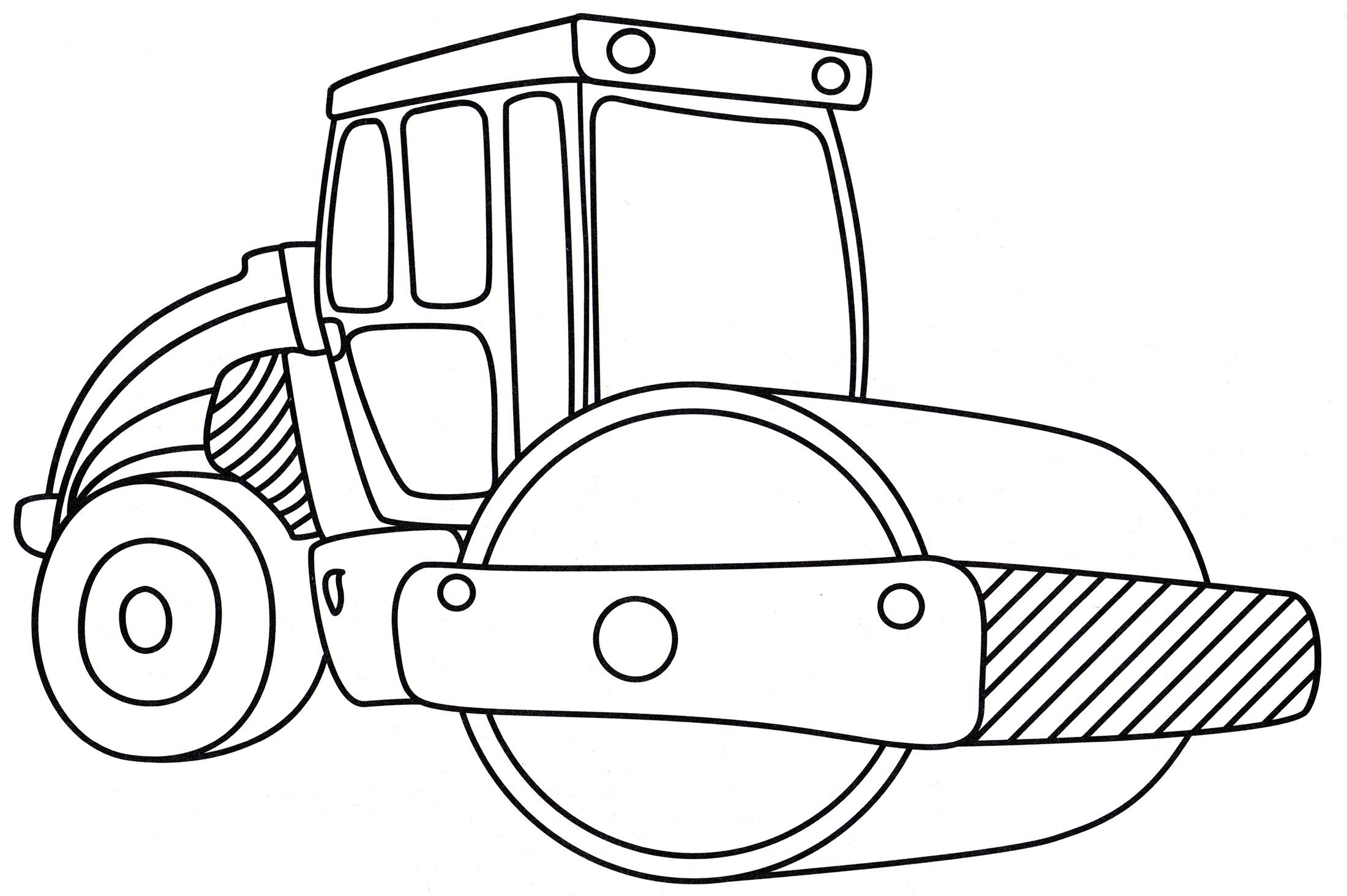 Раскраска Каток для дорожных работ - распечатать бесплатно